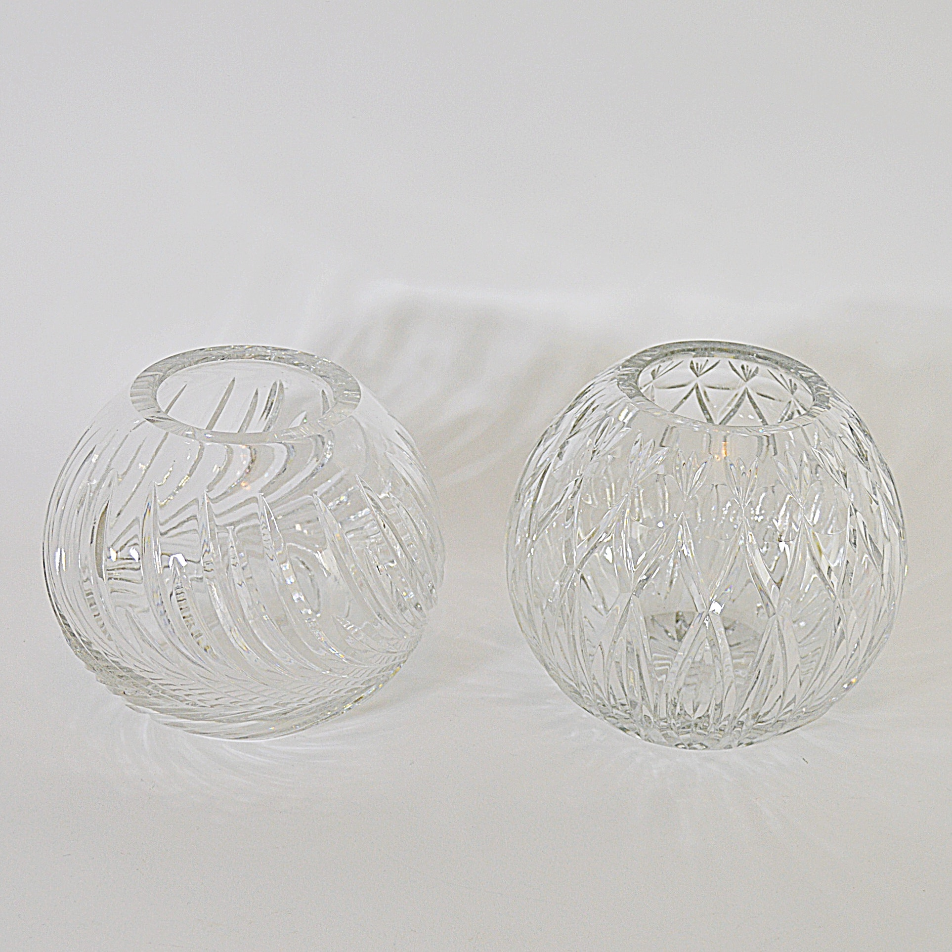Two Lead Crystal Rose Vases