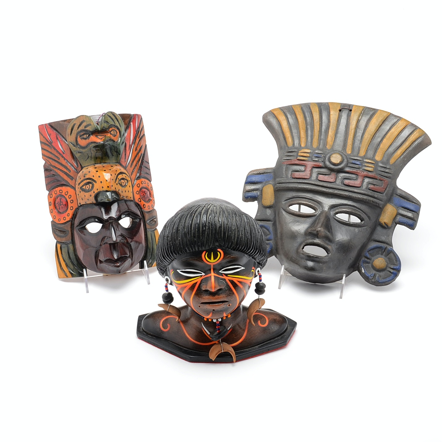 Tribal Masks and Ceramic Bust