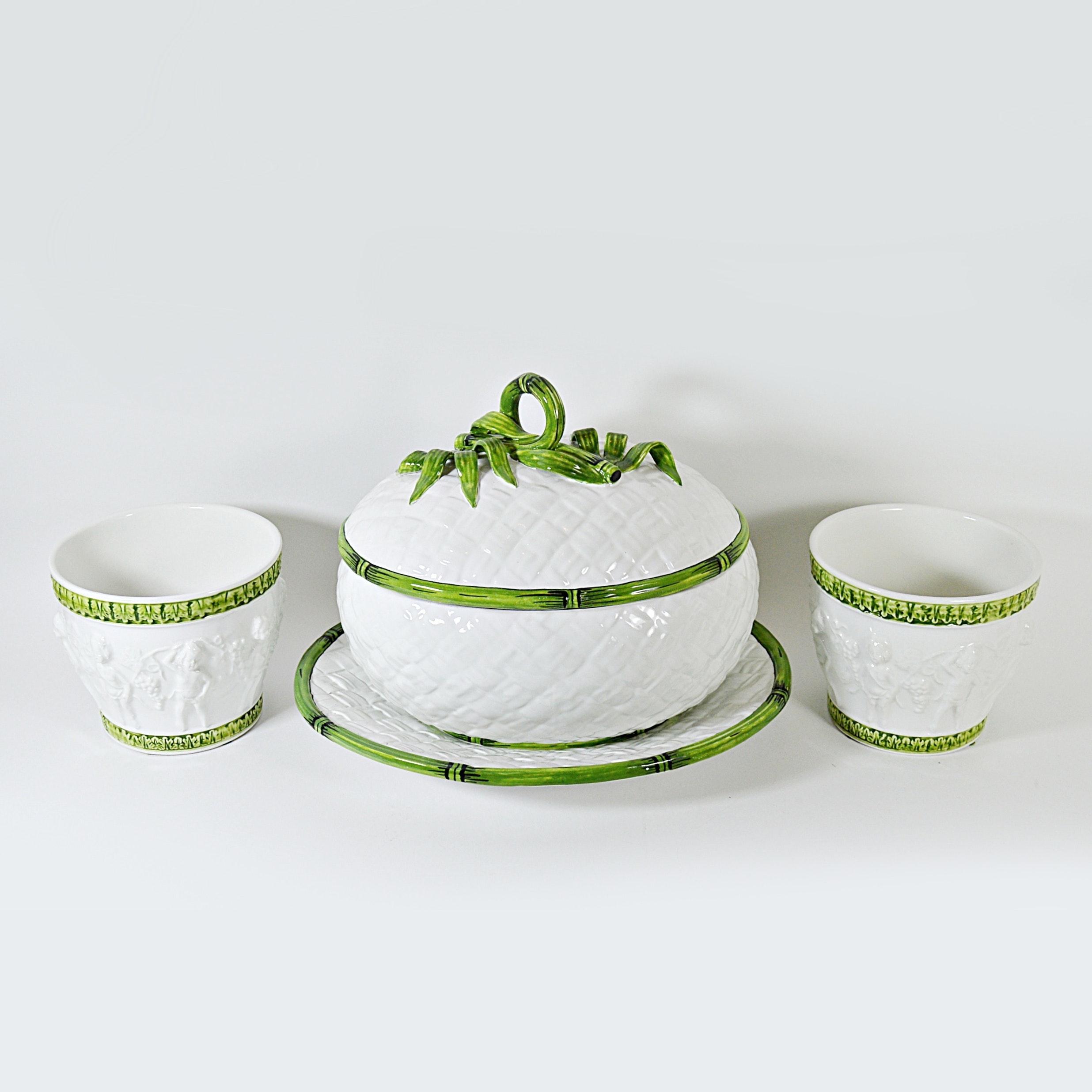 Italian Ceramic Tureen and Two Cache Pots