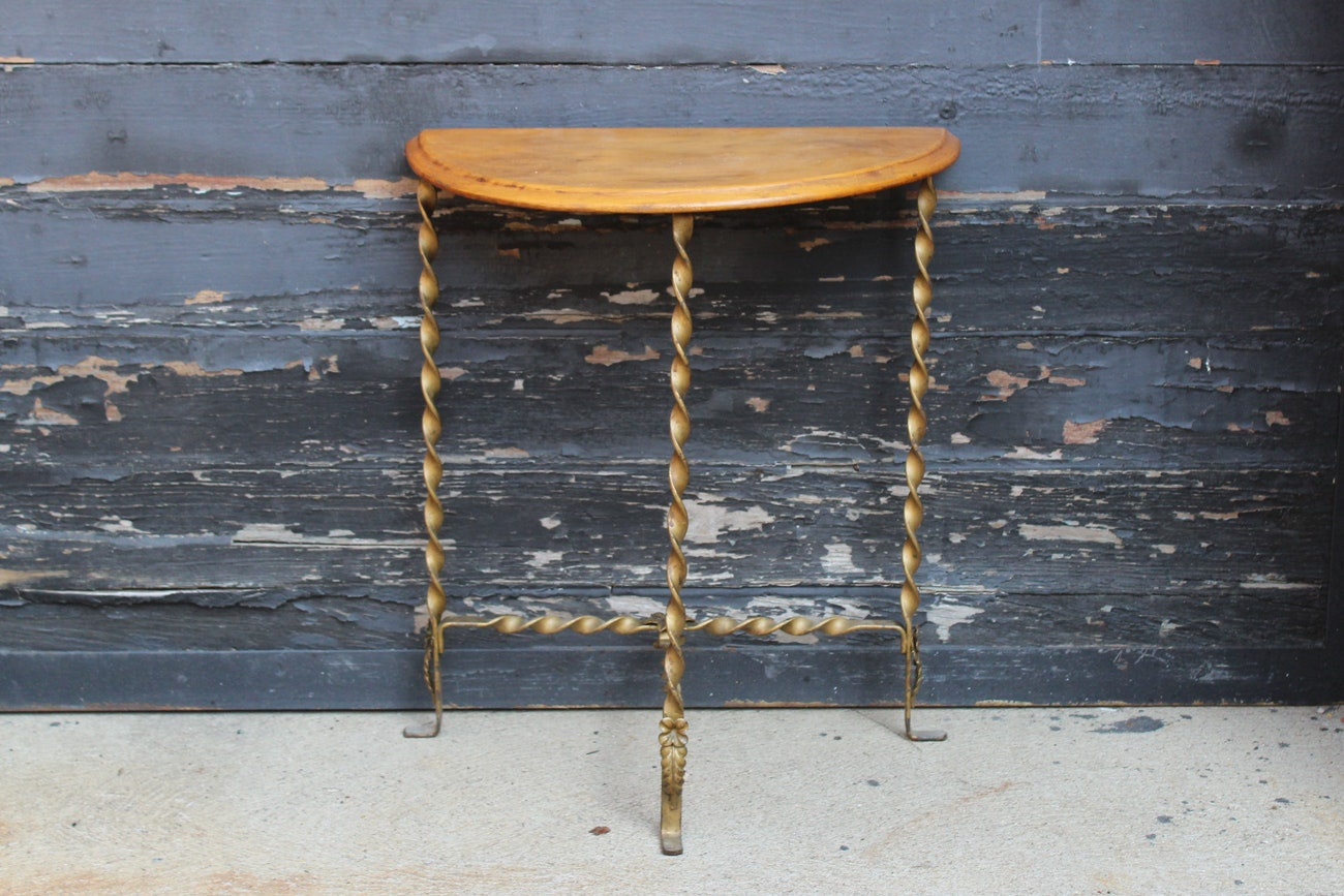 Vintage Wood and Wrought Iron Console Table