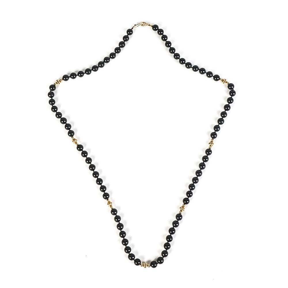14K Yellow Gold and Onyx Beaded Necklace