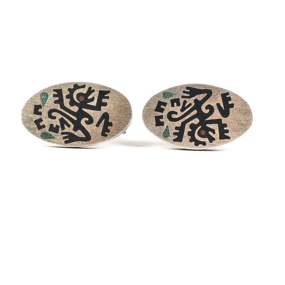 Vintage Mexican Sterling Silver and Alpaca Cufflinks