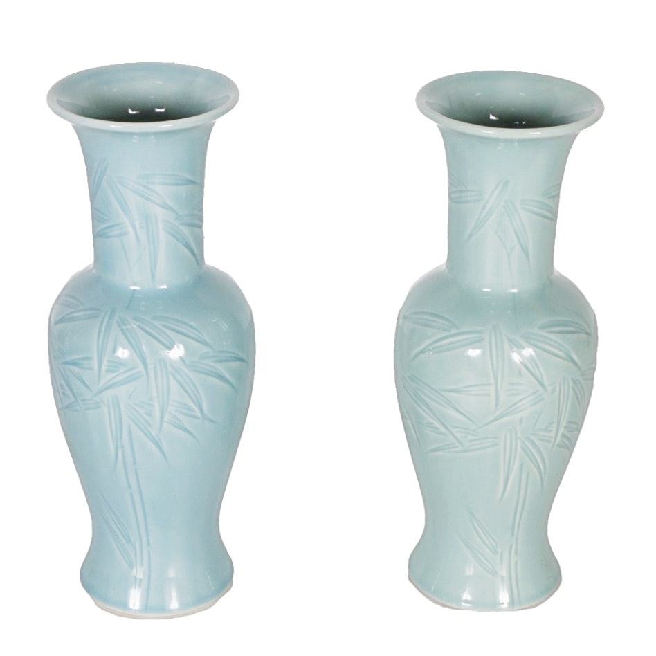Pair of Chinese Celadon Phoenix Tail Vases