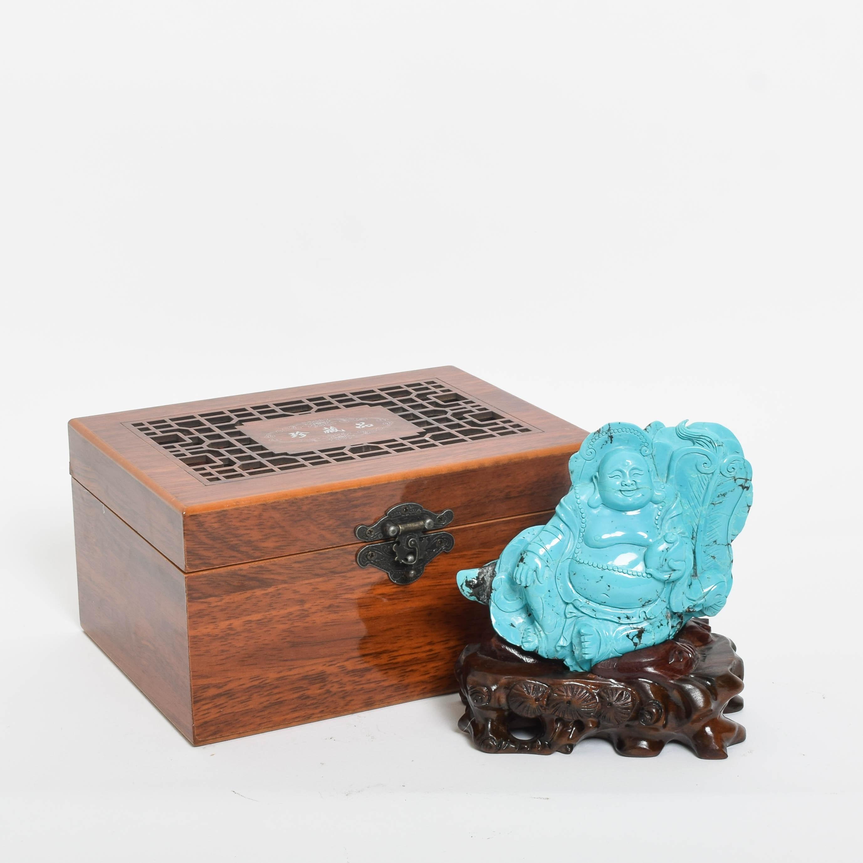 Chinese Turquoise Budai Figurine