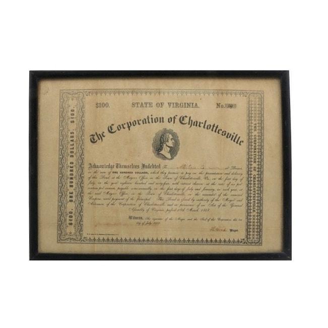 Civil War Era Corporation of Charlottesville Bond