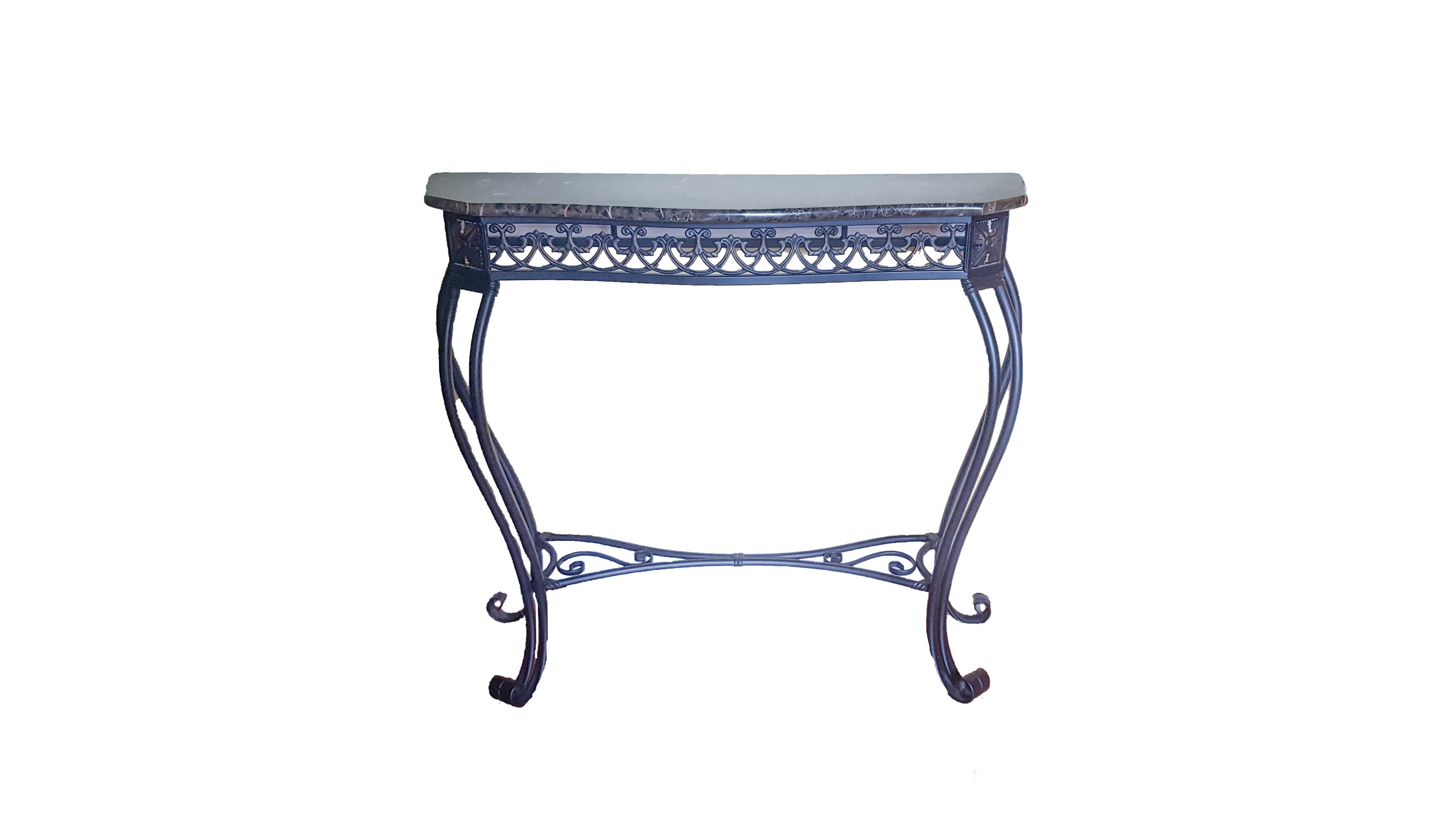 Black Marble Top Metal Console Table