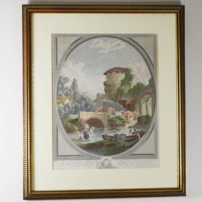 """Hand-Colored Engraving After Francois Boucher """"Paysage au Pont et au Pigeonnier"""""""