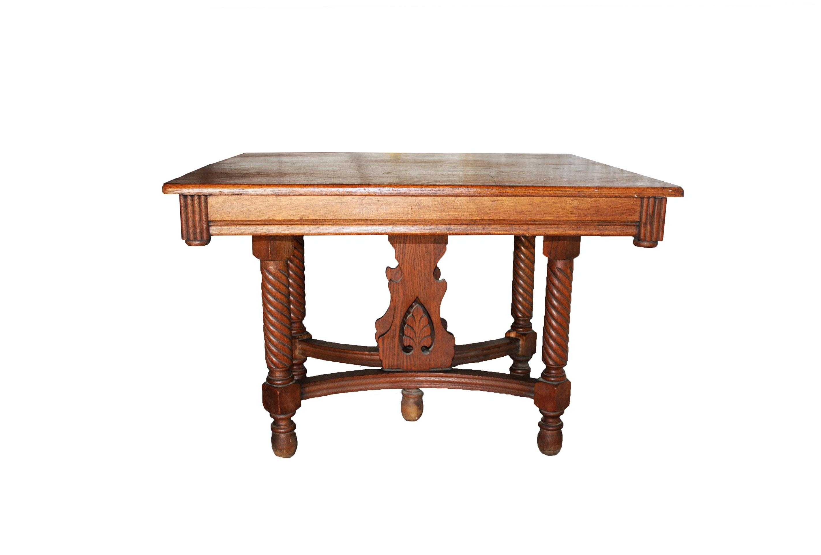 Antique Victorian Style Oak Dining Table