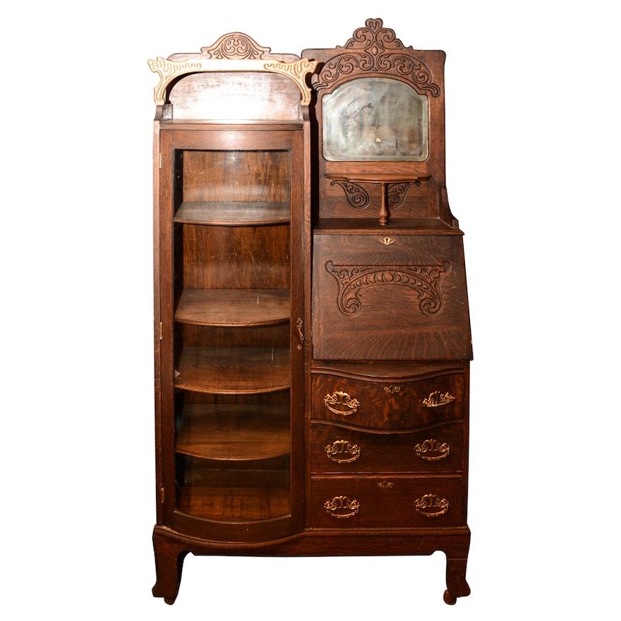 Antique Victorian Oak Side By Secretary Bookcase