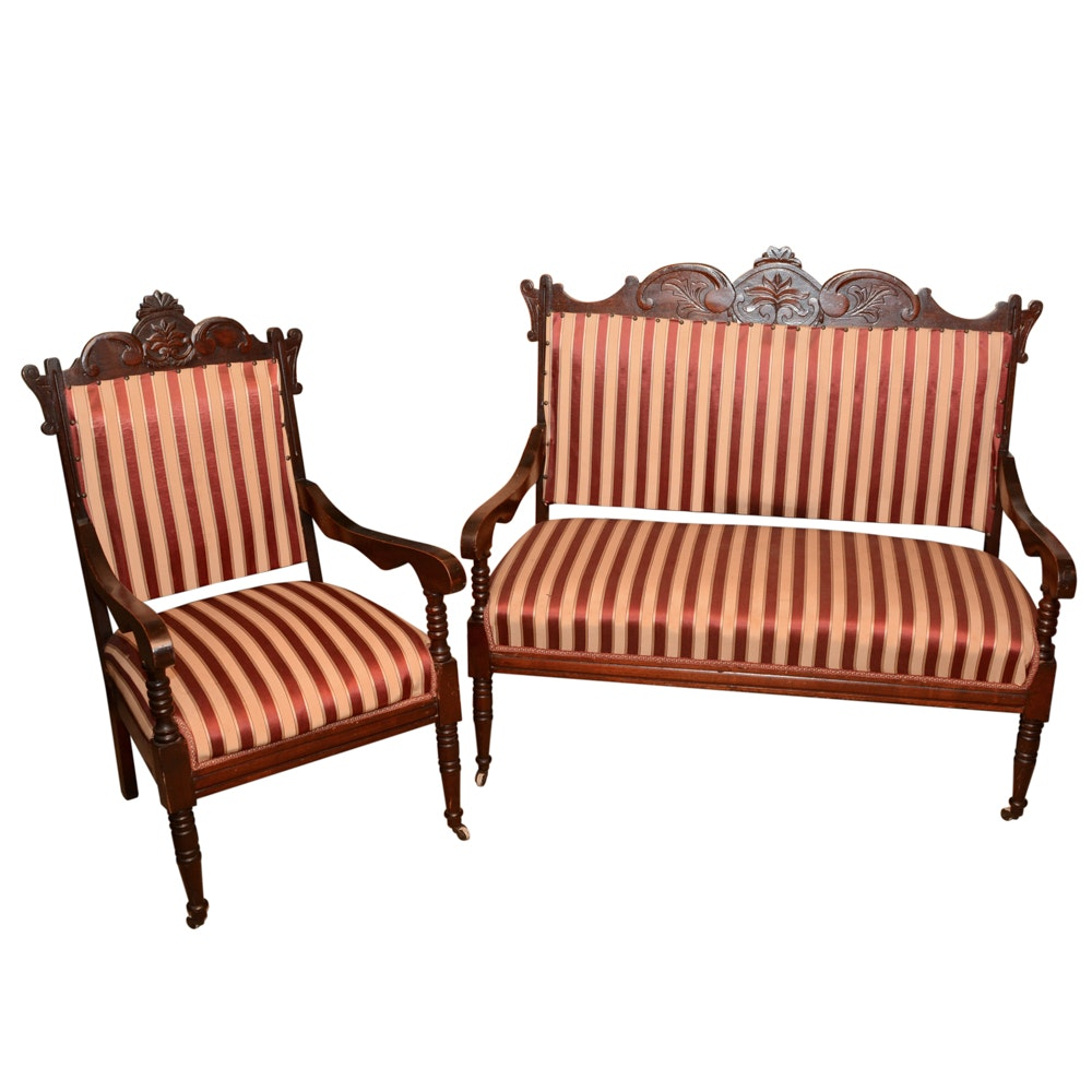 Vintage Pin-Stripe Settee and Chair