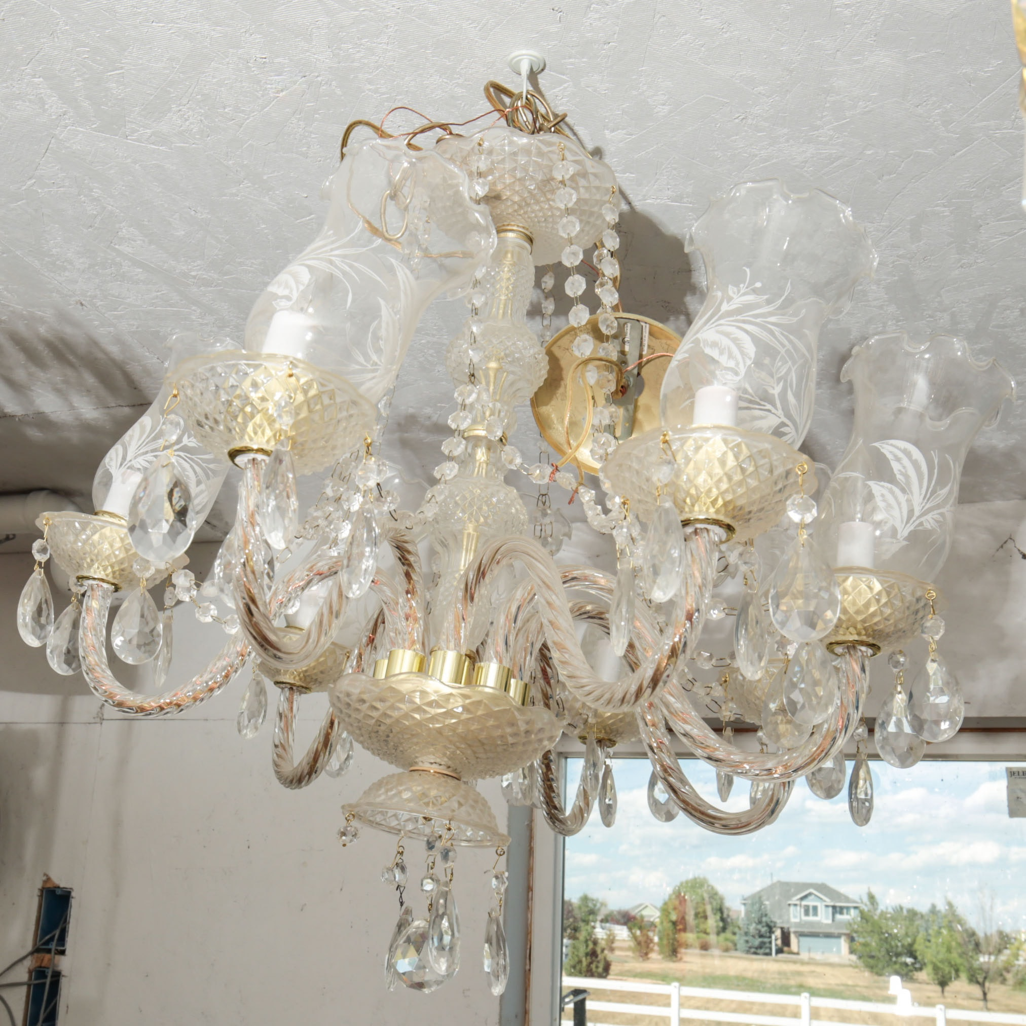 Ornate Vintage Glass Chandelier