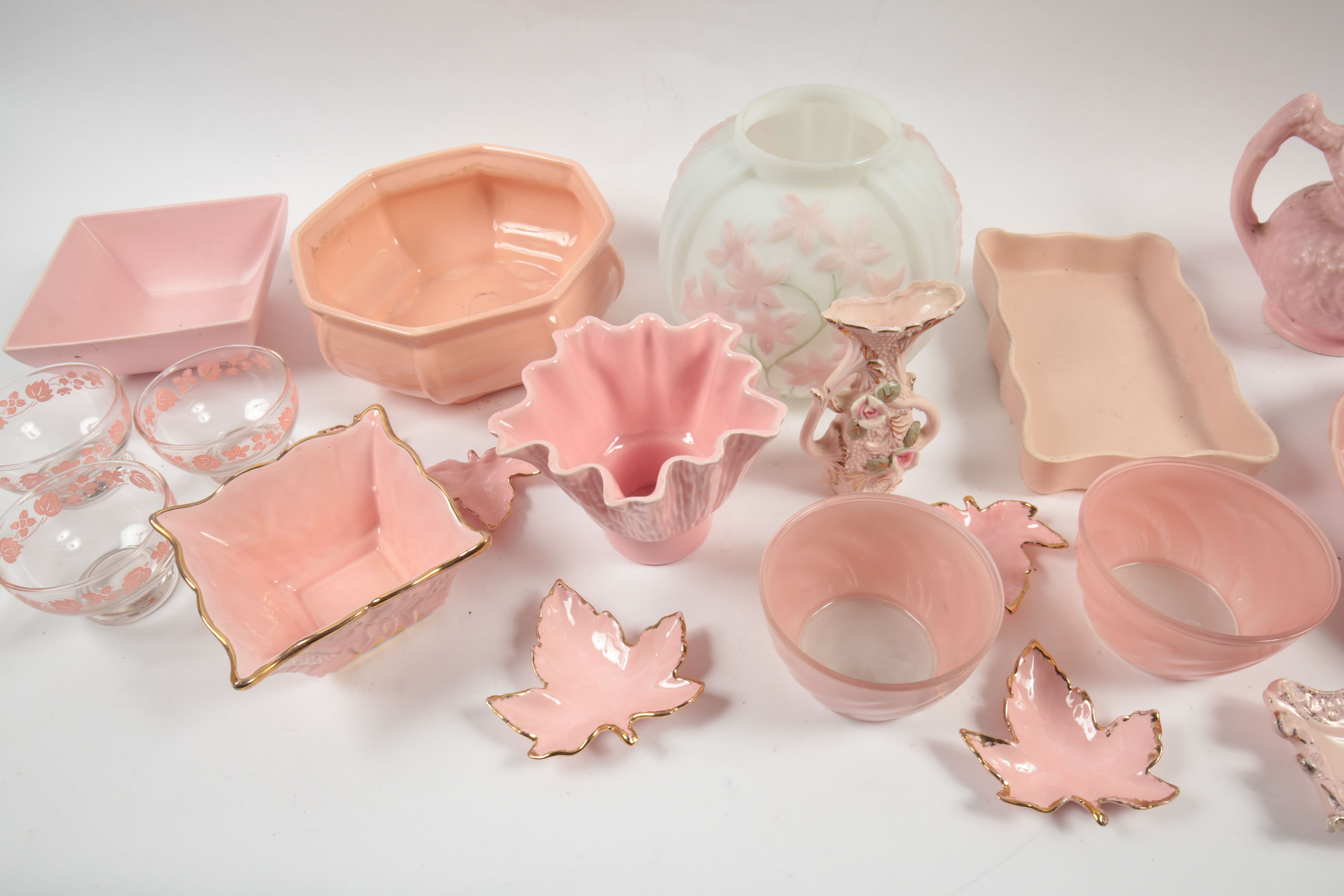 Large Assortment of Vintage Pink Ceramic and Glass Decor