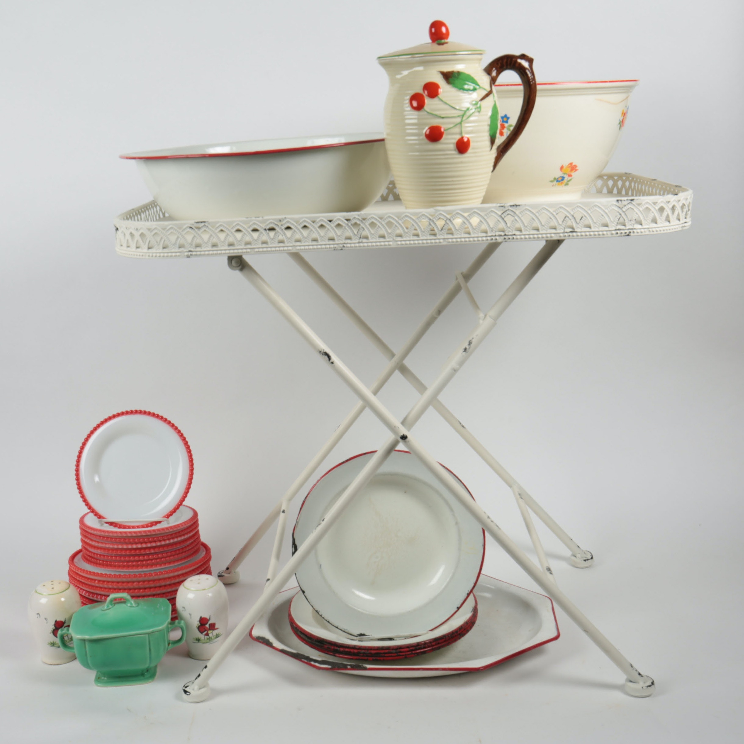 Variety of Vintage Serving Ware and a Folding Table