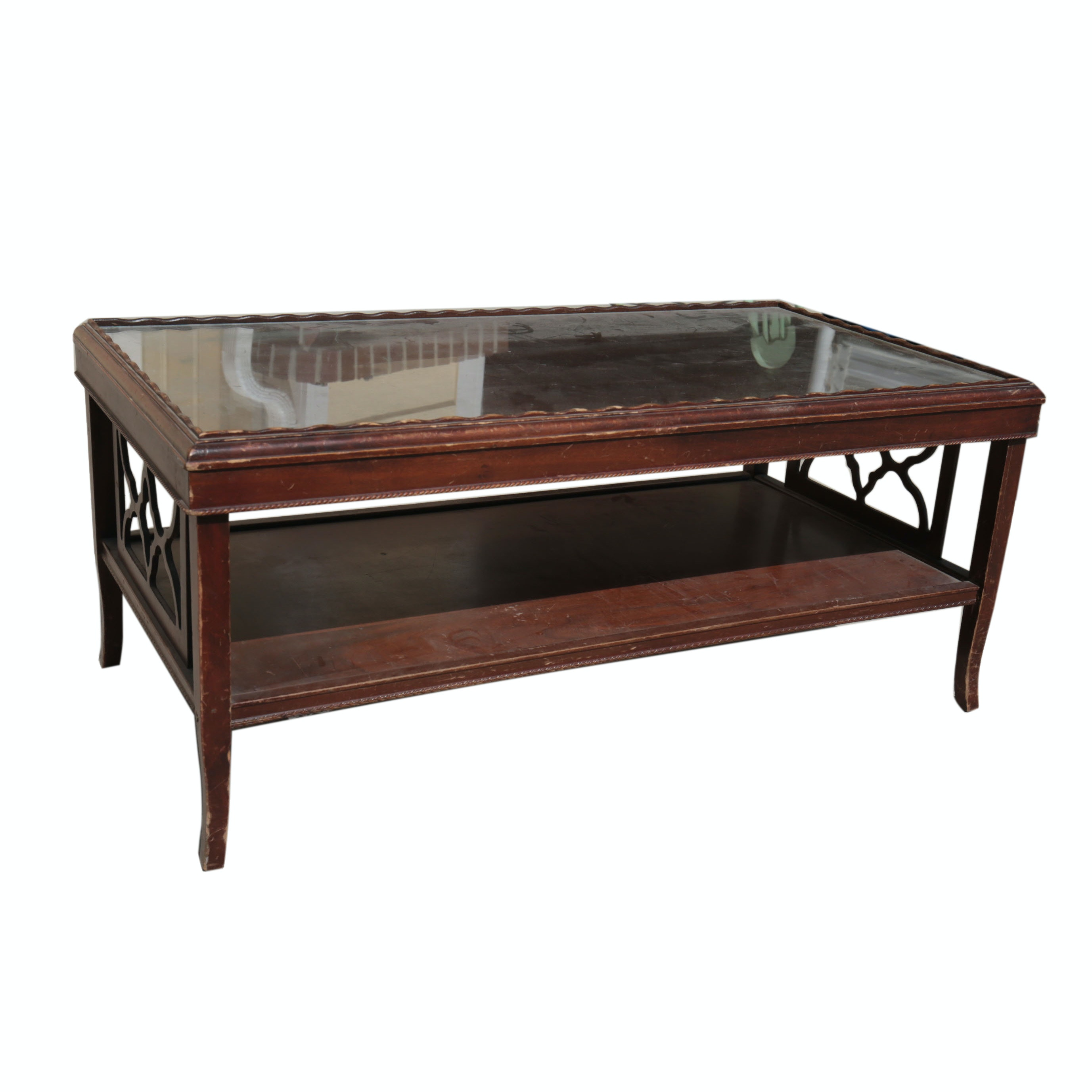 Vintage Glass Topped Coffee Table