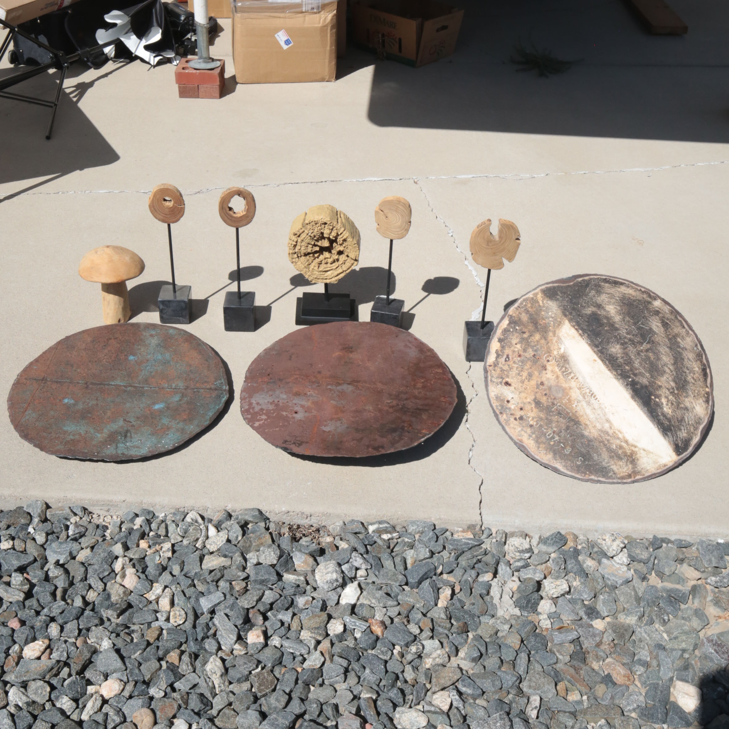Variety of Rustic Metal and Wood Decor