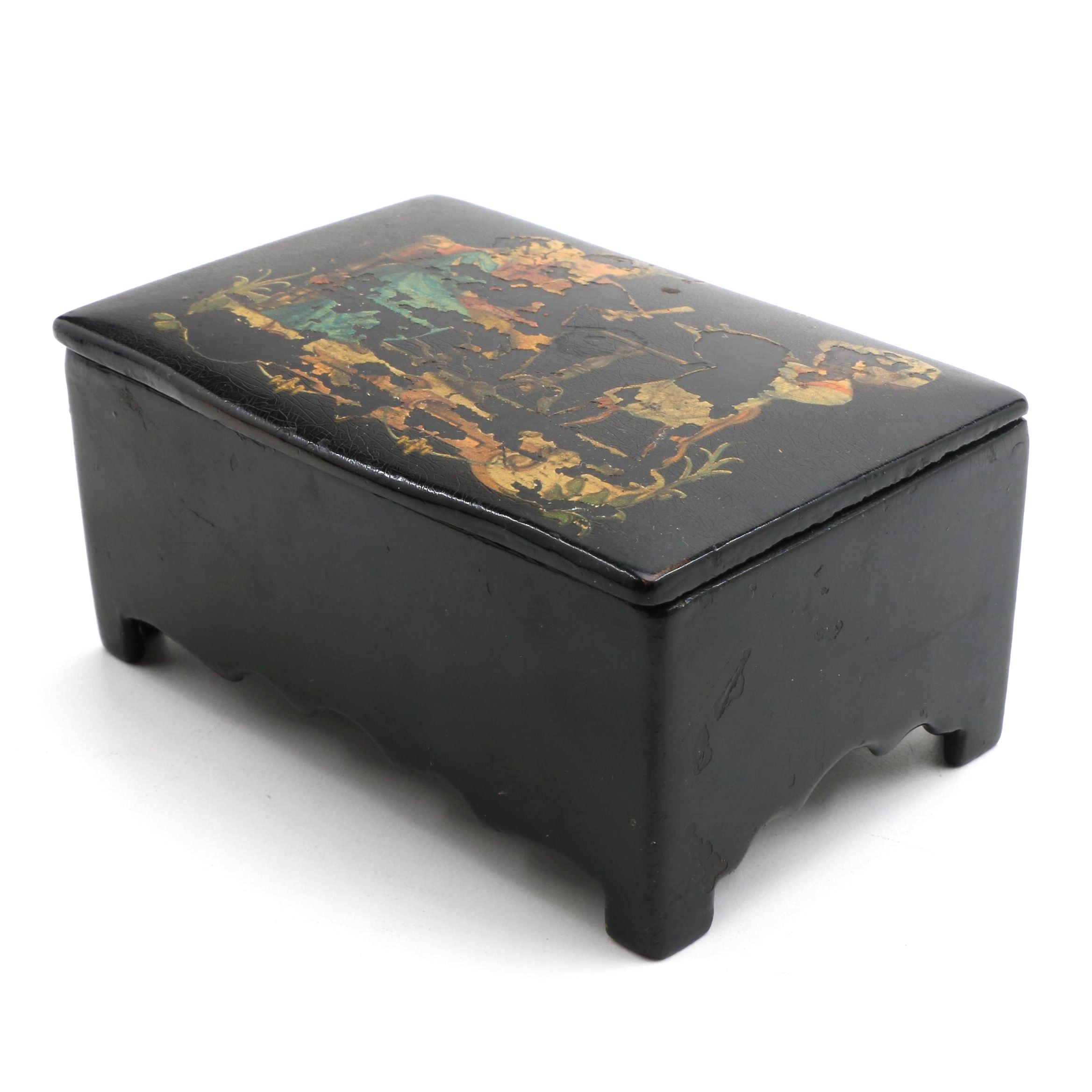 Antique Continental Black Lacquered Trinket Box with Figural Scene