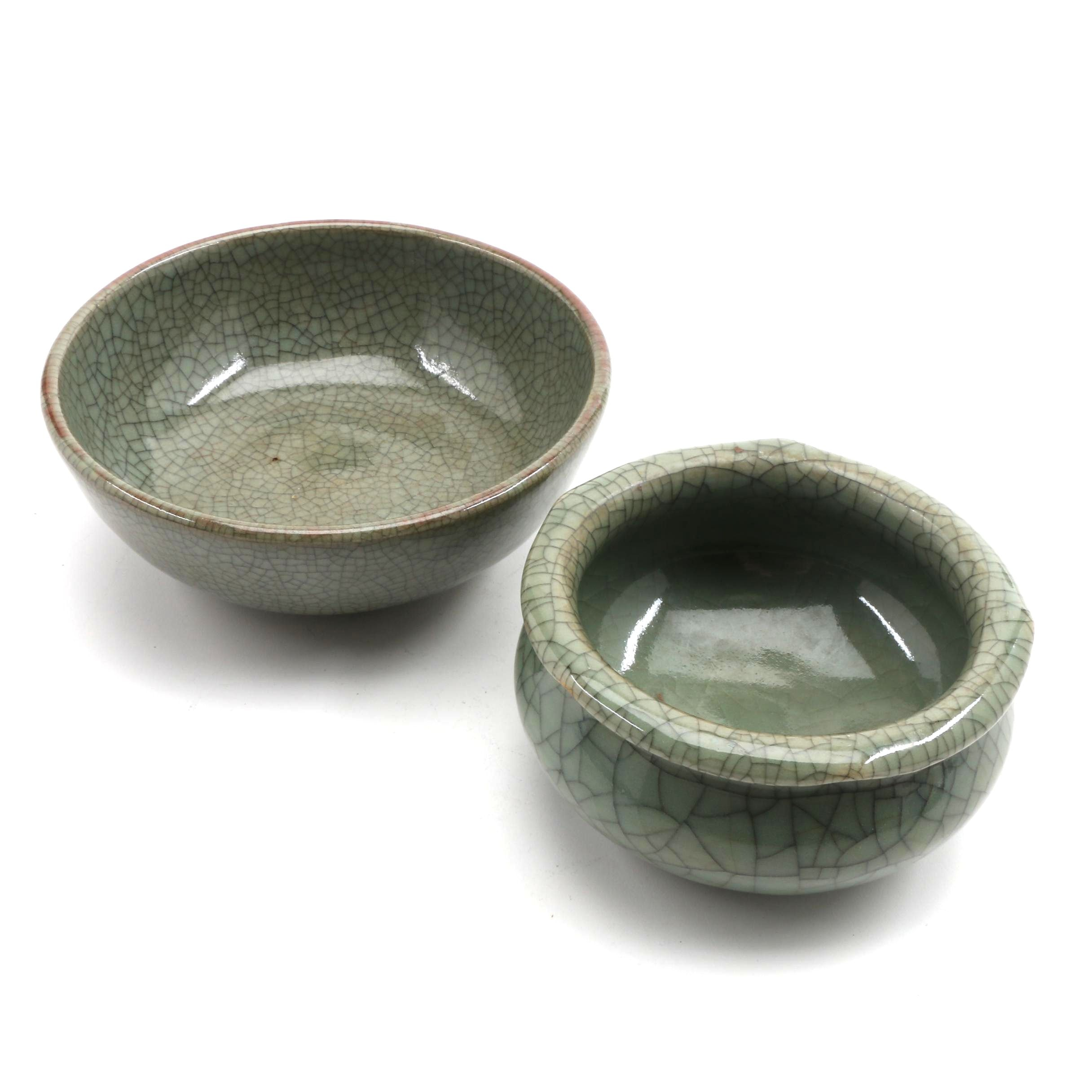 Two Chinese Crackle Glaze Celadon Tea Bowls