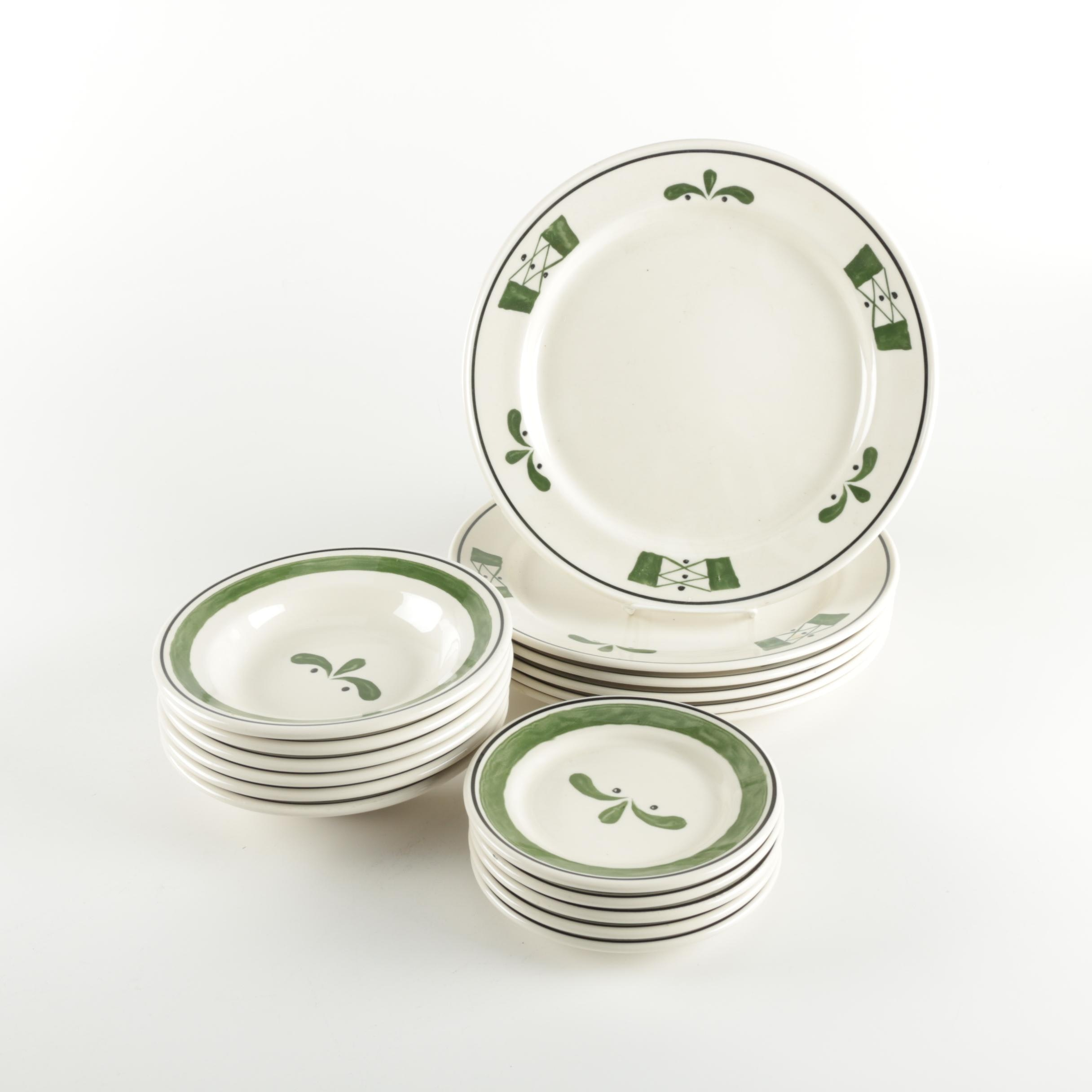 Hand-Painted Dishes with Green Accents