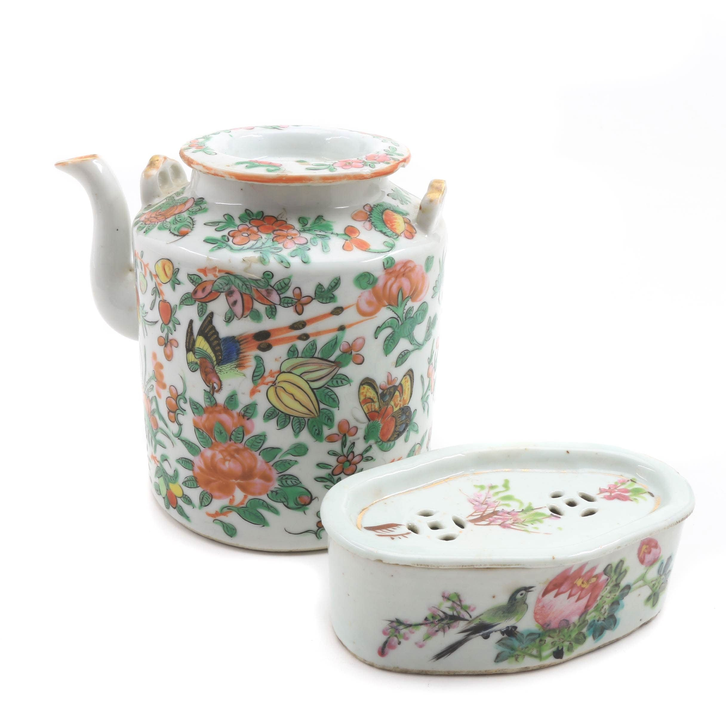 Chinese Famille Rose Porcelain Teapot and Porcelain Soap Dish