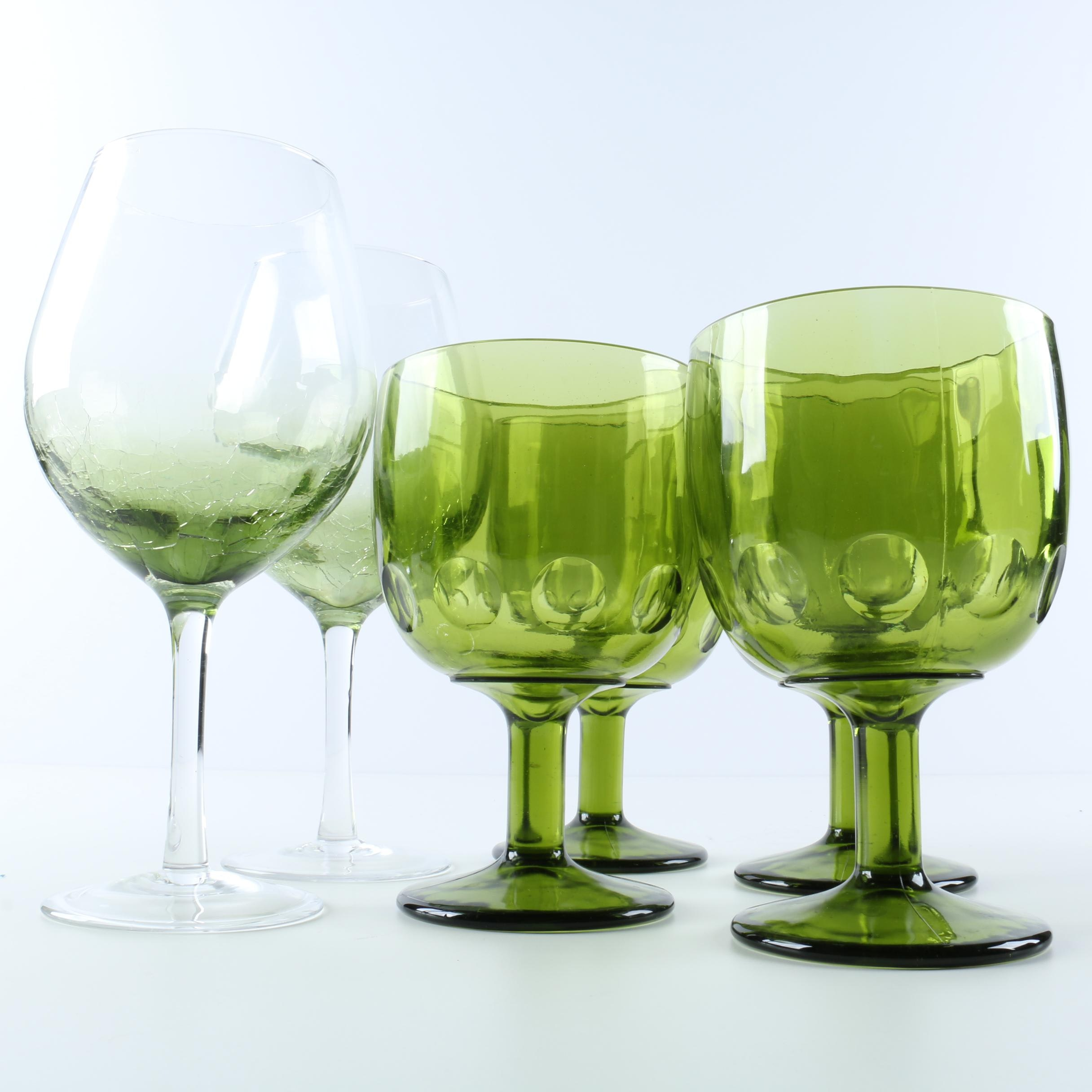 Green Wine Glasses and Goblets