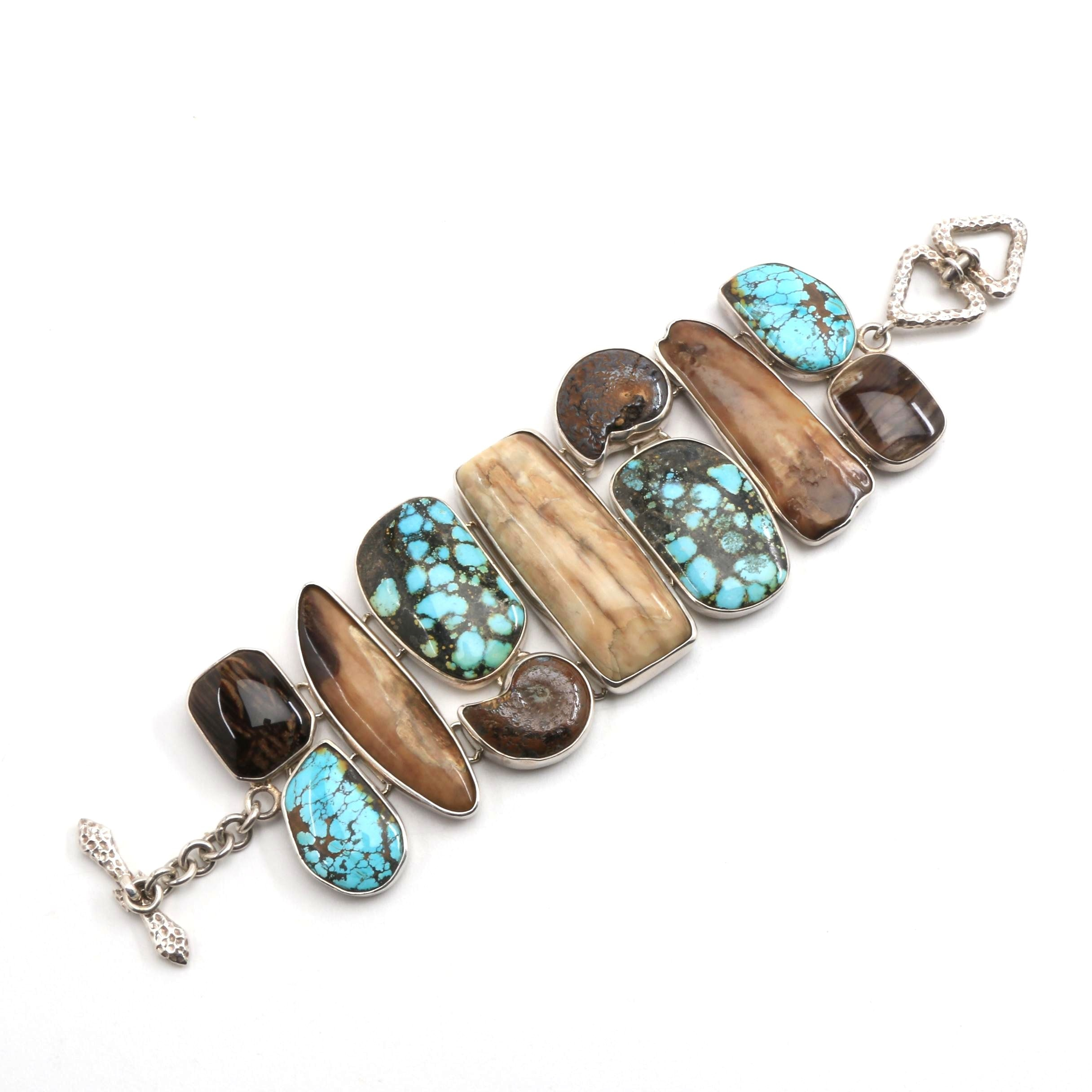 Wide Turquoise, Wood Horn and Ammonoid Fossil Bracelet in Sterling Silver Mount