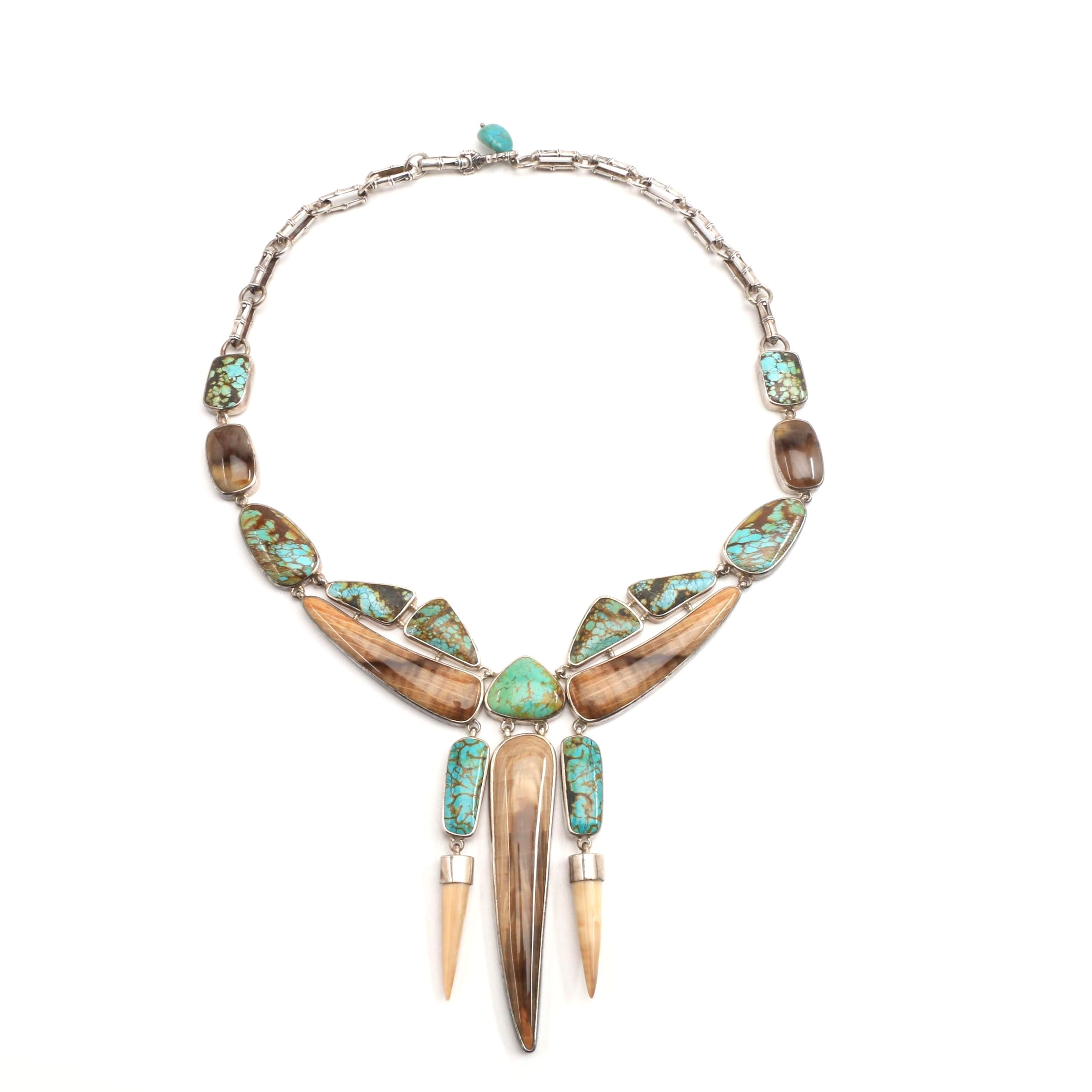 Turquoise and Horn Necklace in Sterling Silver
