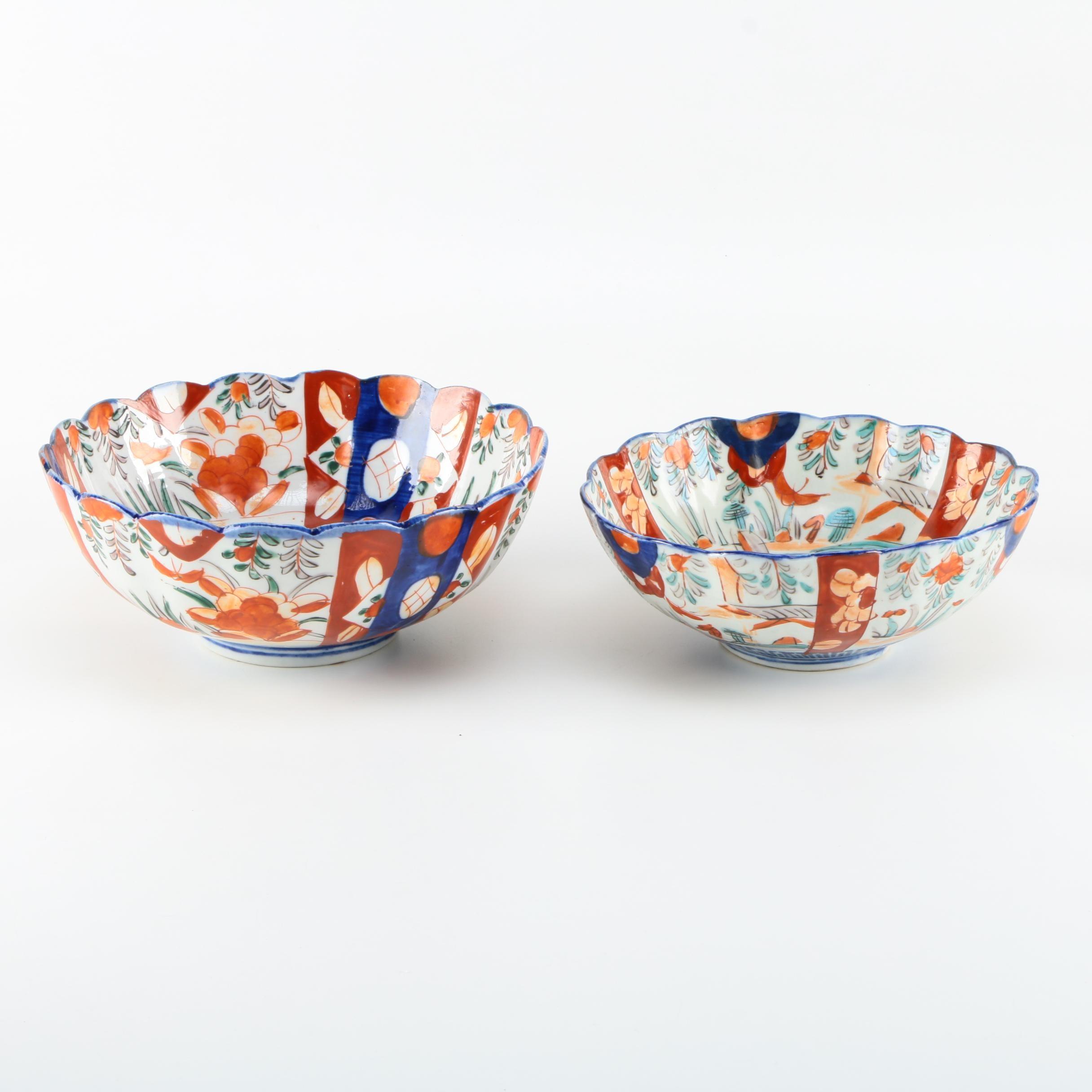 Pair of Imari Scallop Edge Bowls