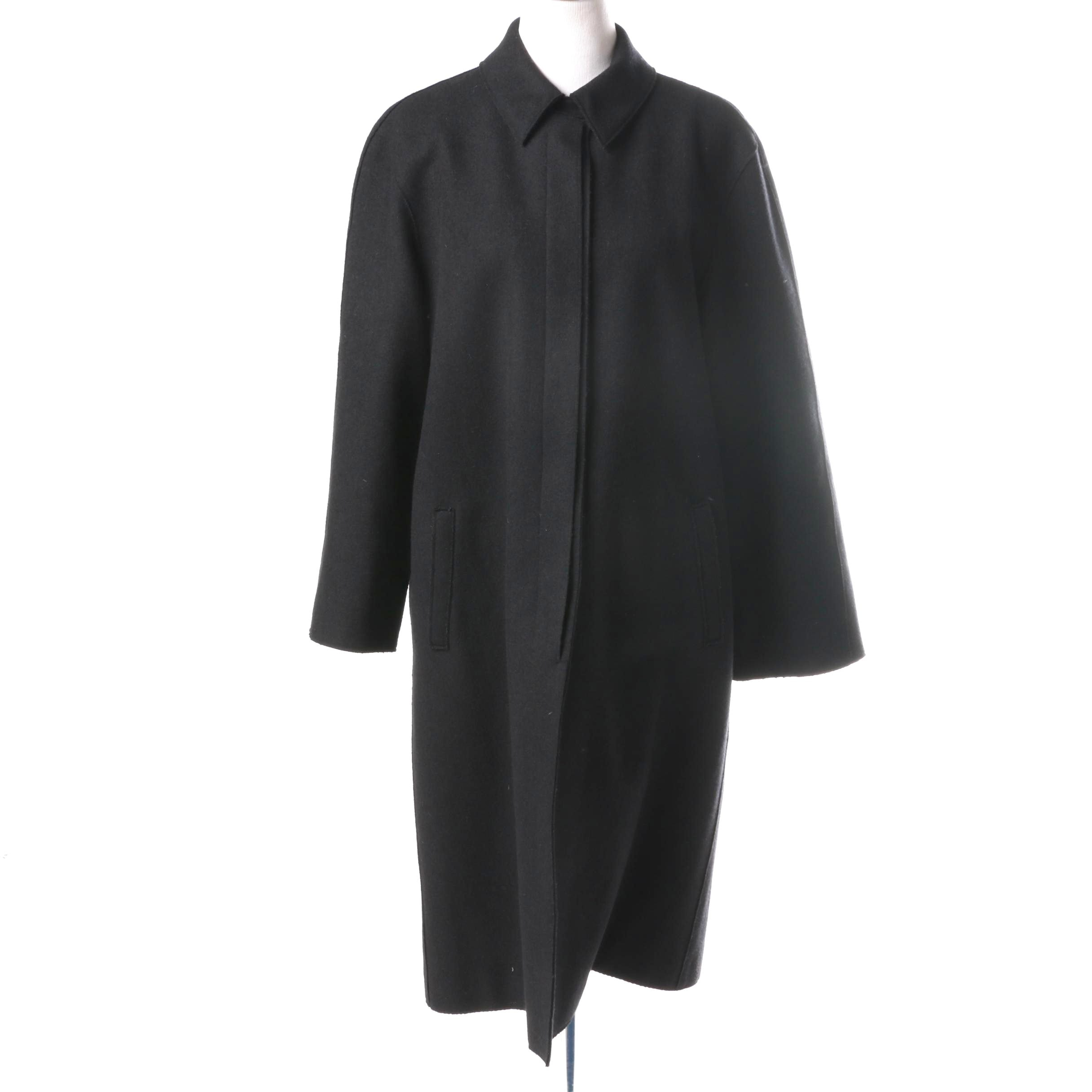 Calvin Klein Collection Women's Wool Blend Black Coat