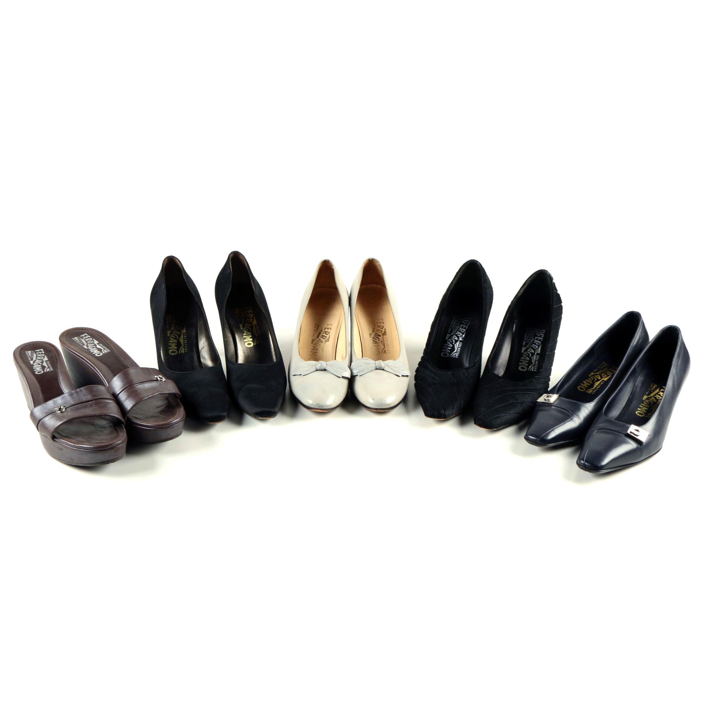Five Pairs of Salvatore Ferragamo Heels