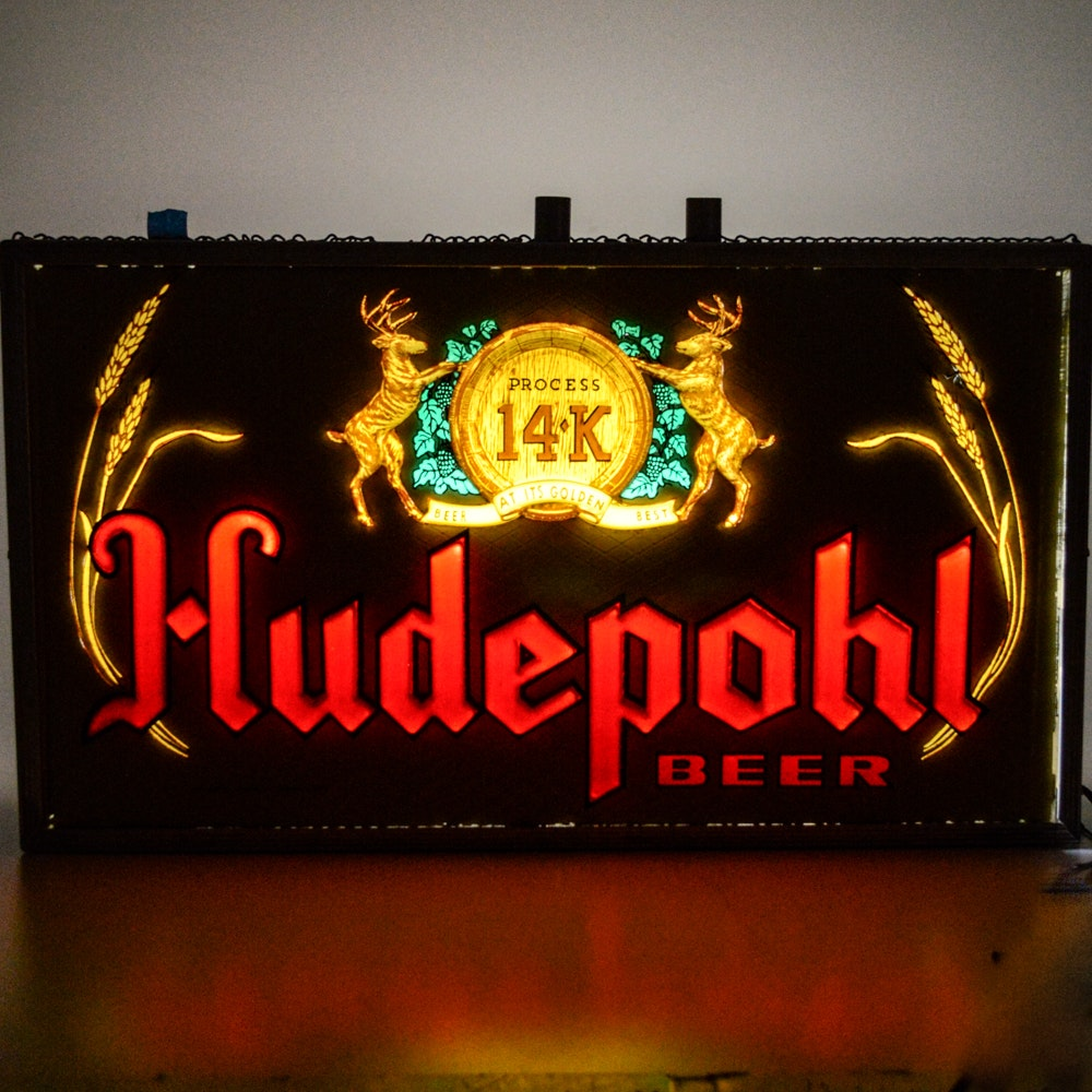 Double-Sided Vintage Hudepohl Beer Sign