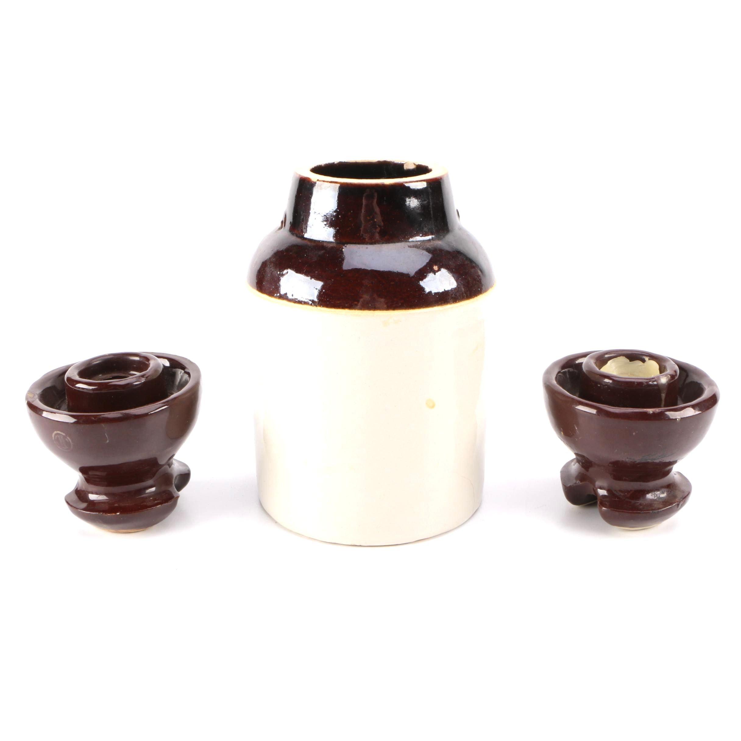 Brown Glazed Stoneware Vase and Candlesticks