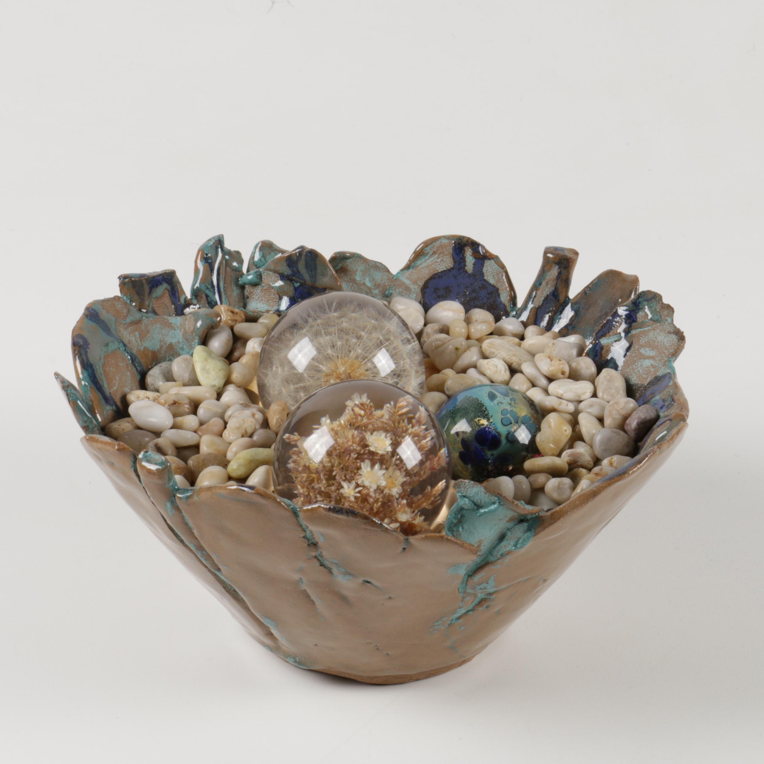 Decorative Bowl with Marbles and Rocks