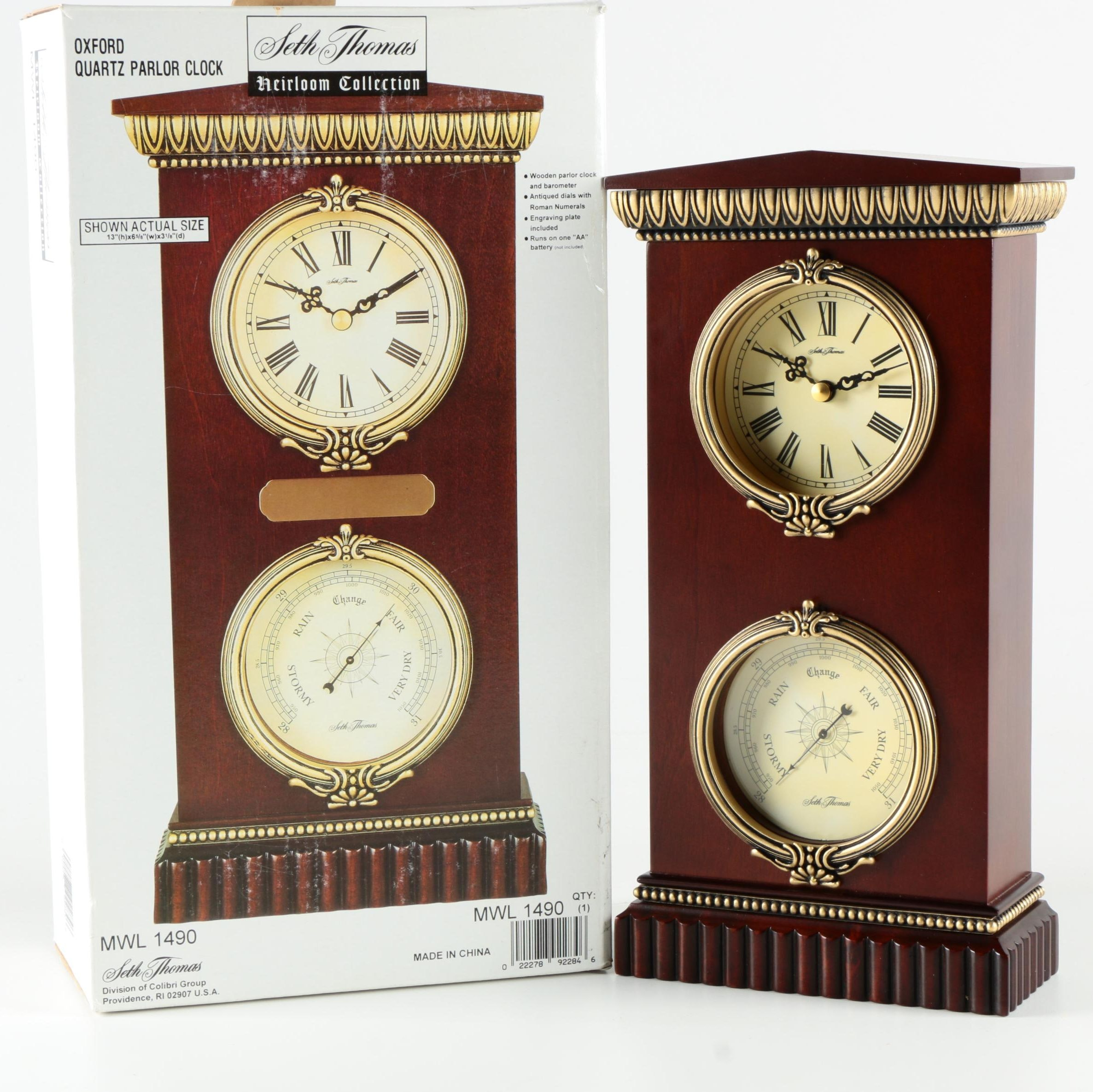 "Seth Thomas ""Heirloom Collection"" Mantel Clock"