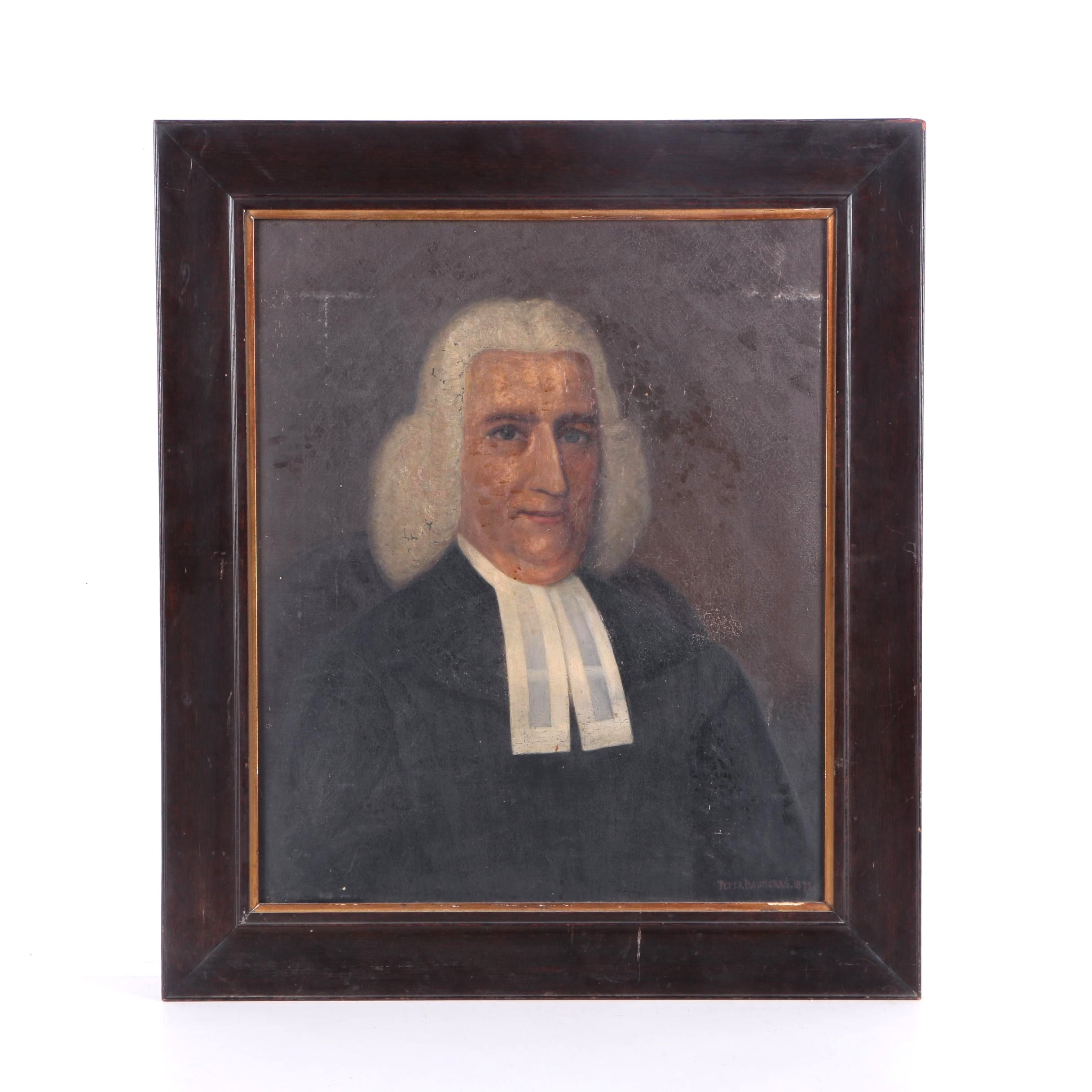 Peter Baumgras Oil Painting on Canvas of Judicial Figure
