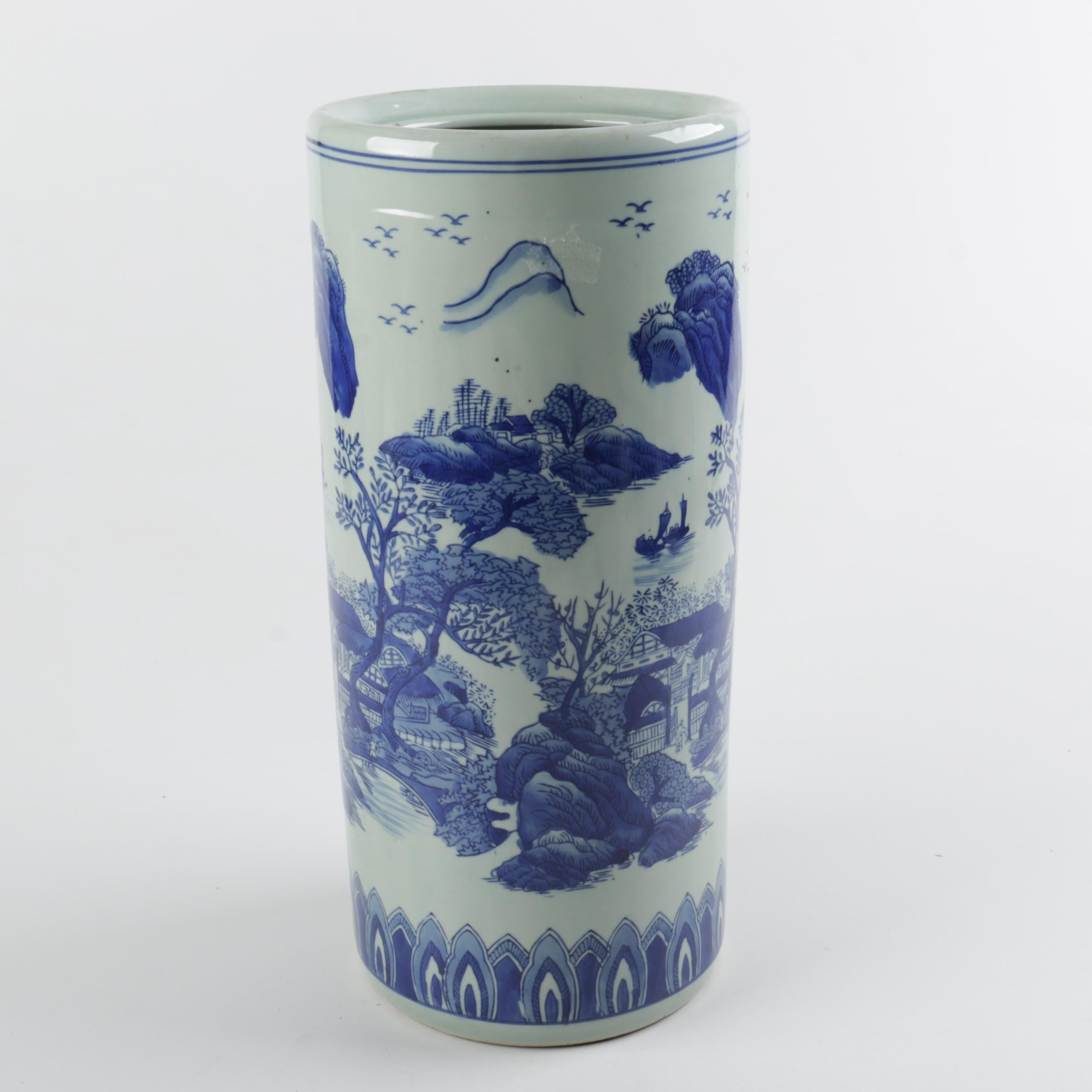 Asian Inspired Blue and White Ceramic Umbrella Stand