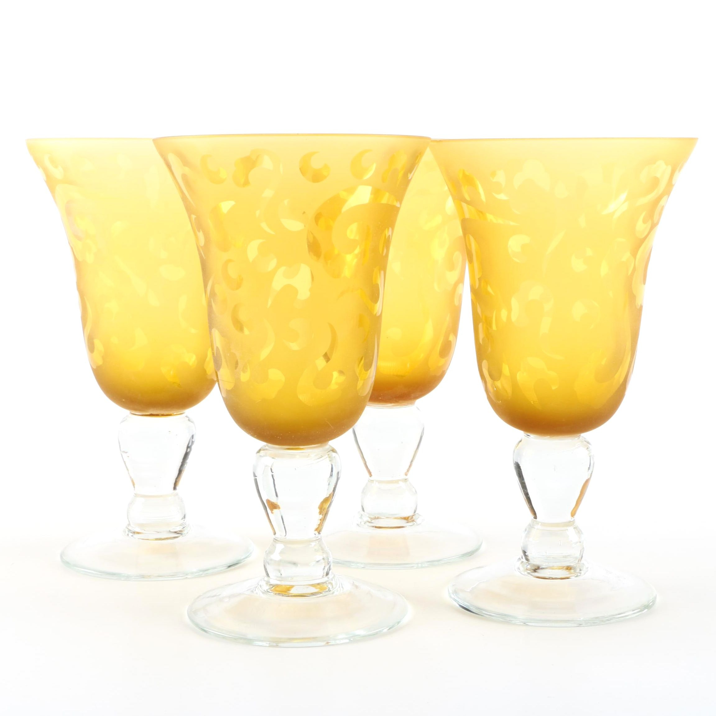 Yellow Patterned Water Goblets