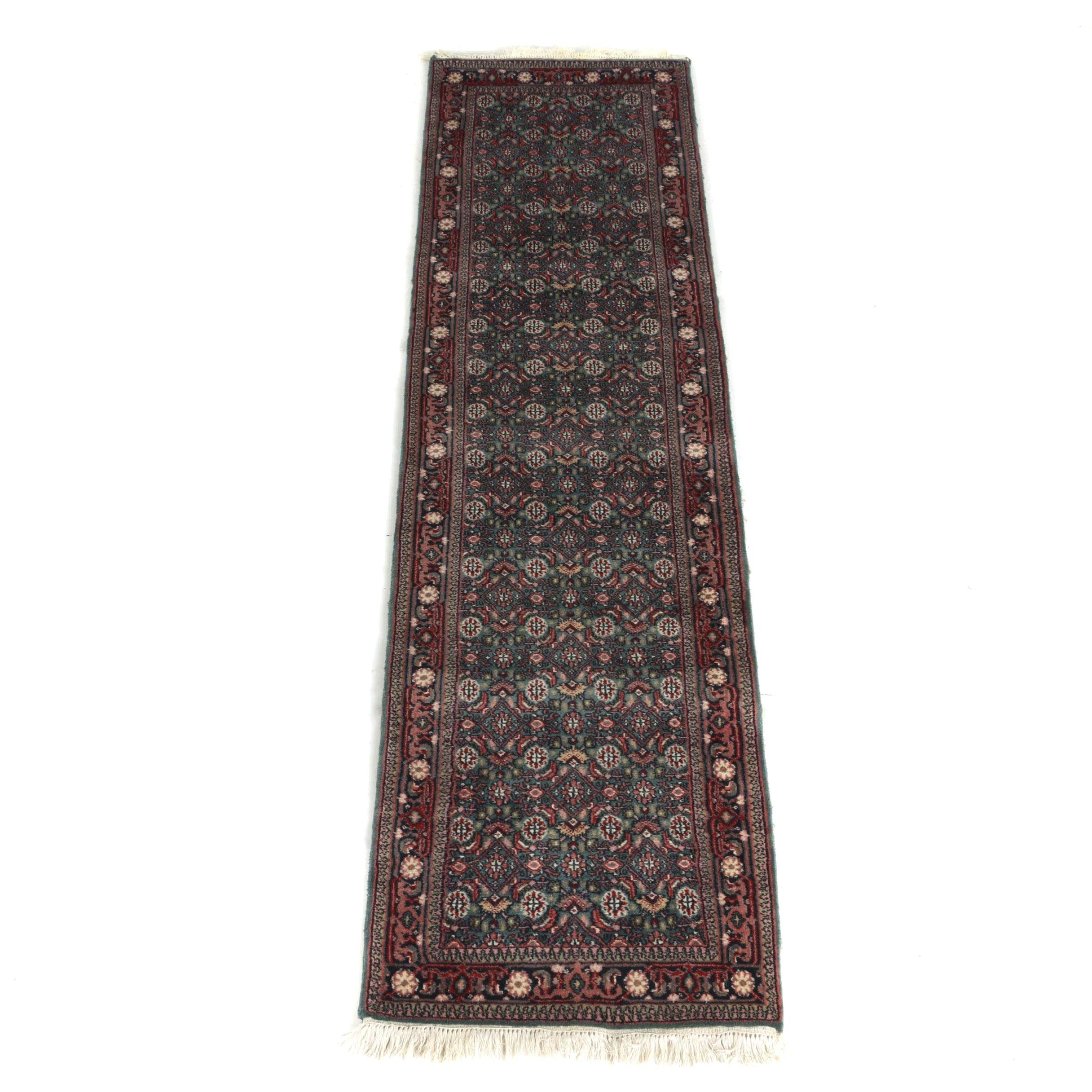 Hand-Knotted Persian Bijar Carpet Runner