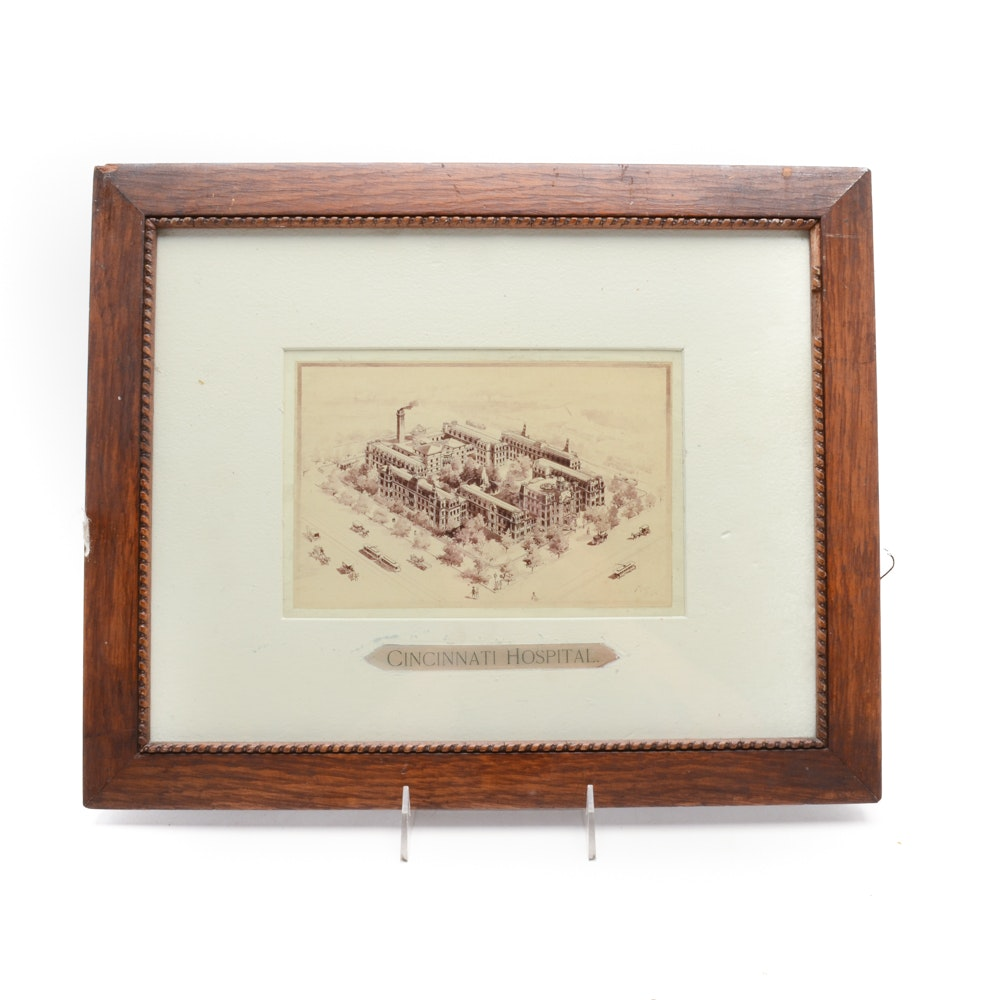 Original Ink and Wash Drawing of Cincinnati Hospital