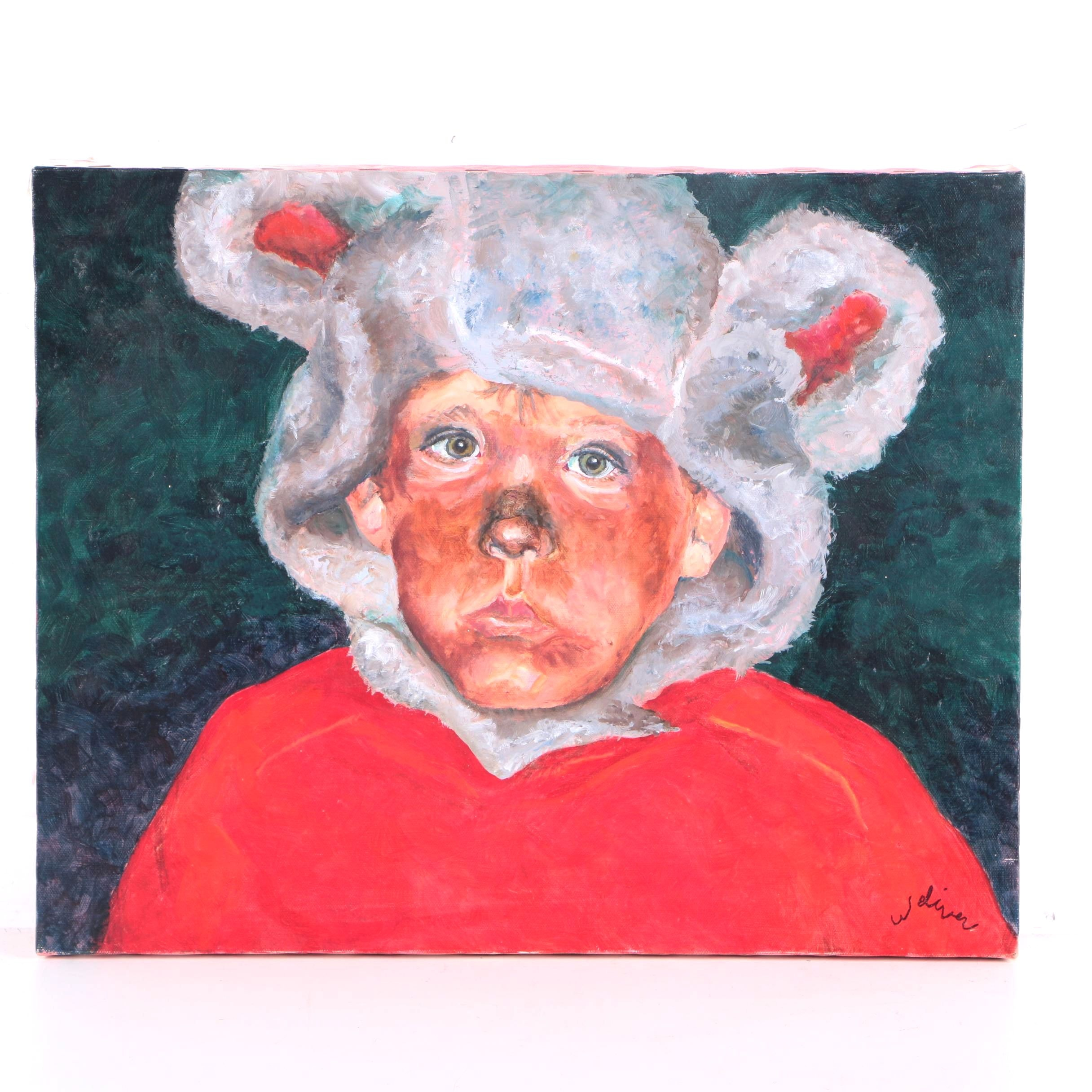 Weliver Oil Painting on Canvas of Boy in Bear Costume and Red Shirt