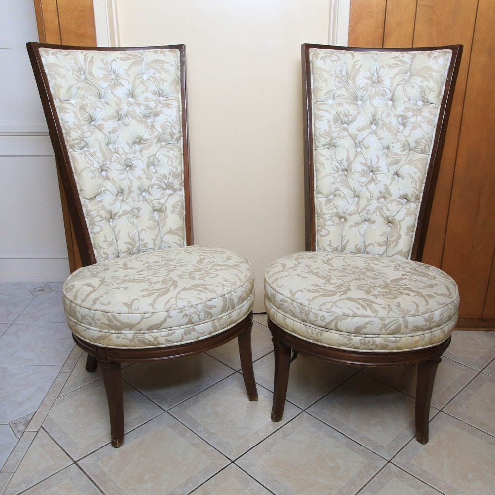 Pair of Vintage Mid-Century High Back Accent Chairs