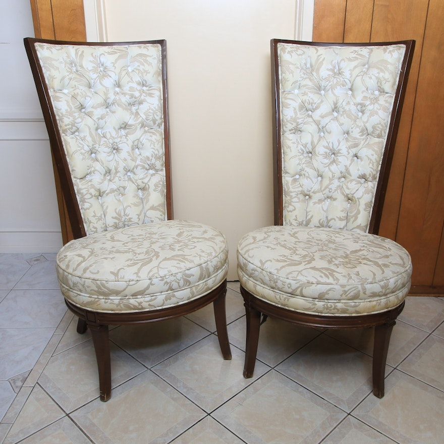 Accent Chair Pair: Pair Of Vintage Mid-Century High Back Accent Chairs