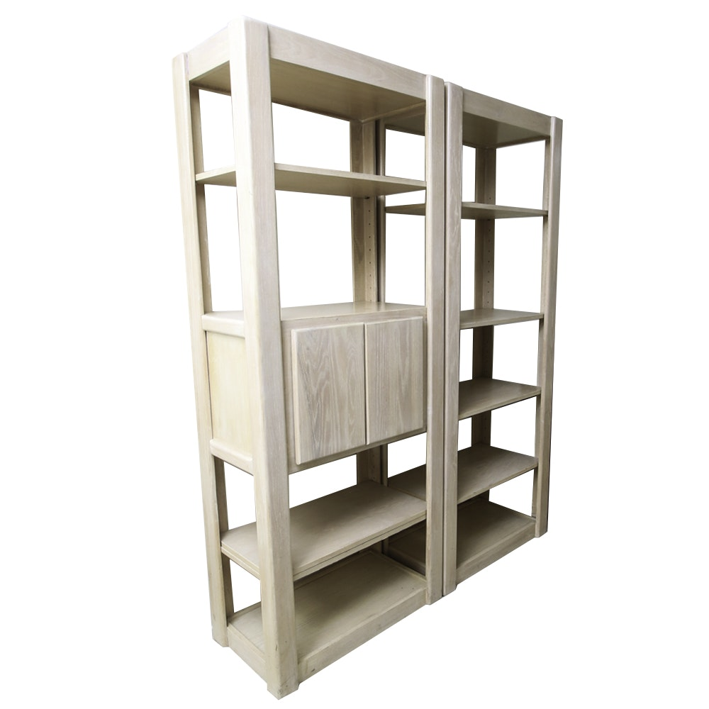 Pair of White Washed Oak Bookshelves