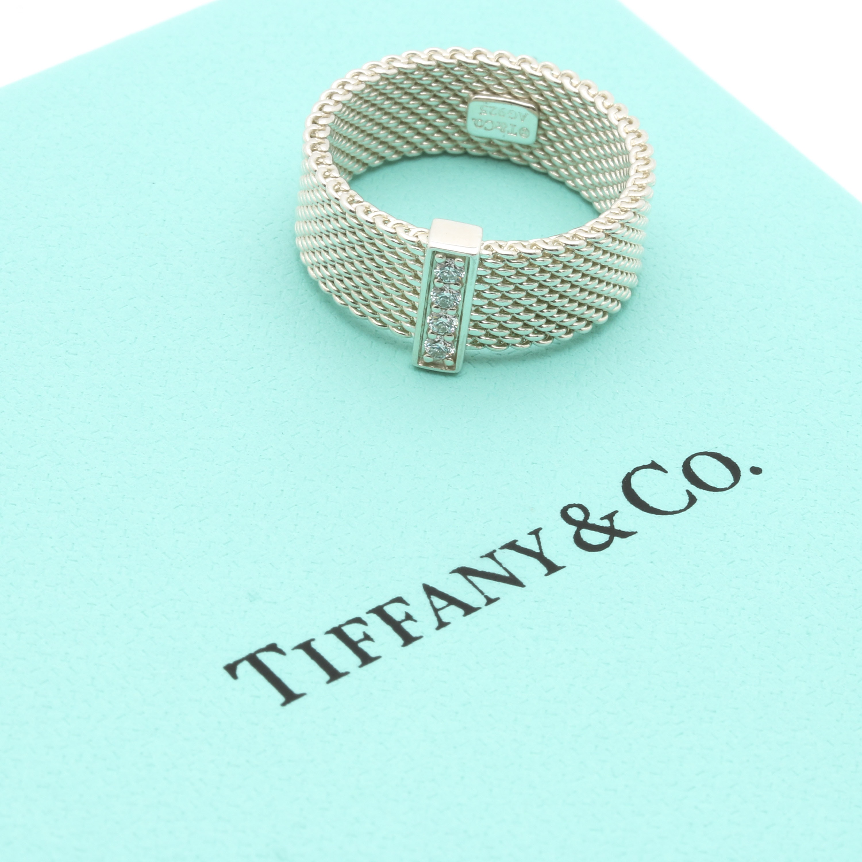 "Tiffany & Co. ""Somerset"" Sterling Silver and Diamond Ring"