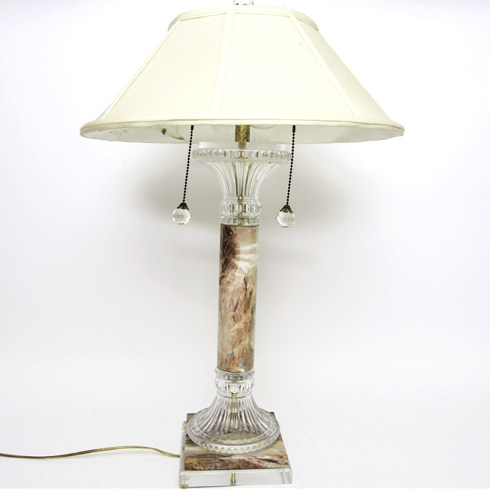 Glass and Stone Table Lamp
