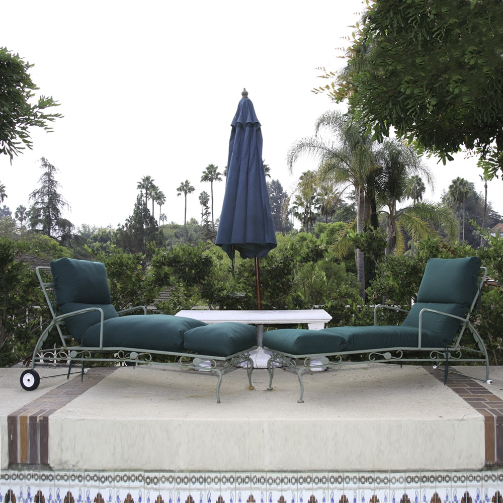 Cast Iron Chaise Lounges with Patio Umbrella