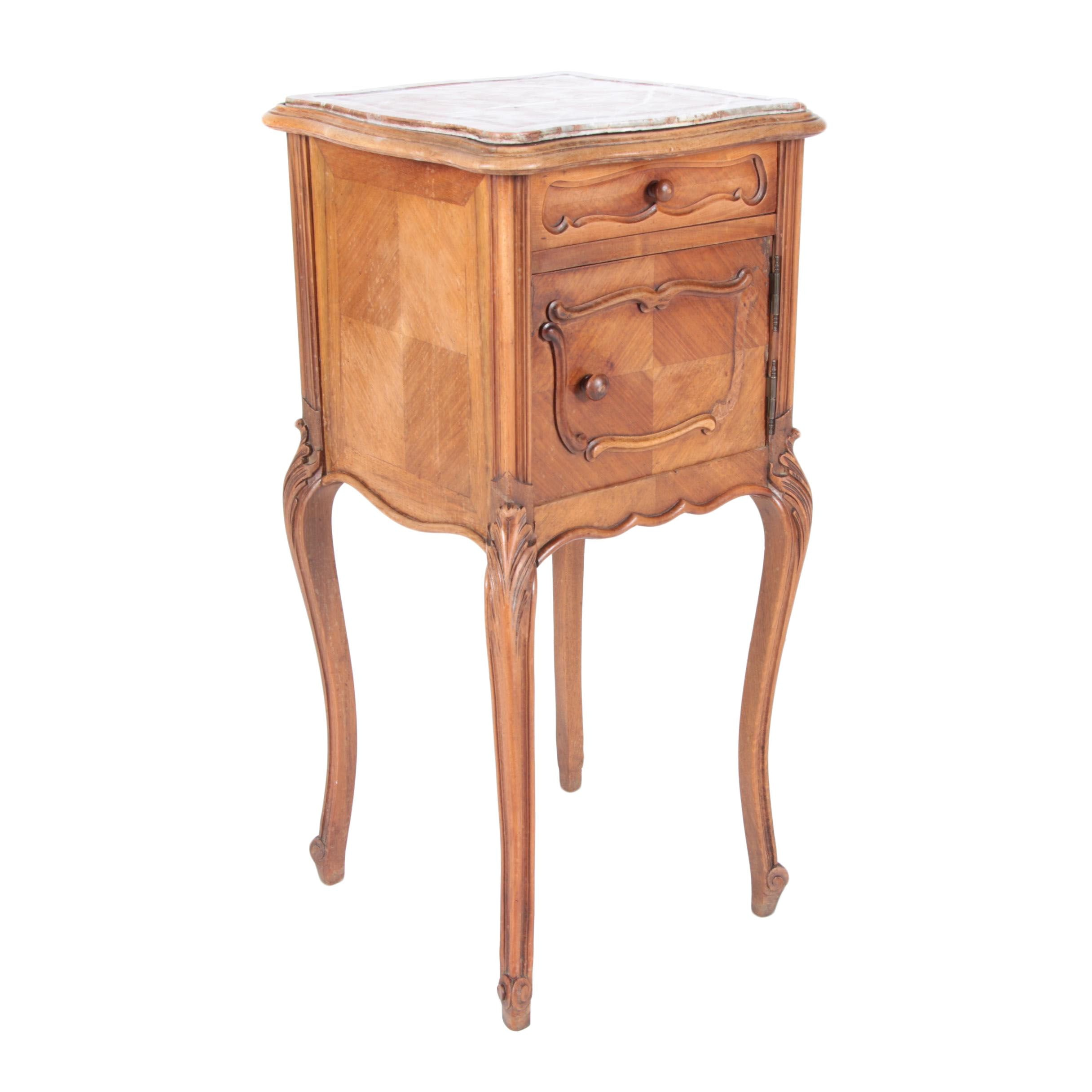 Antique Louis XV Style Side Table with Marble Top