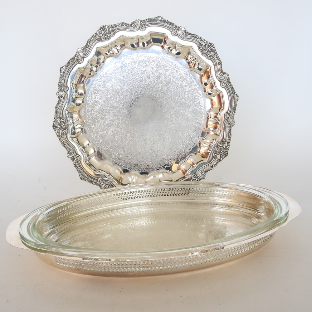 Plated-Silver Tray and Serving Dish
