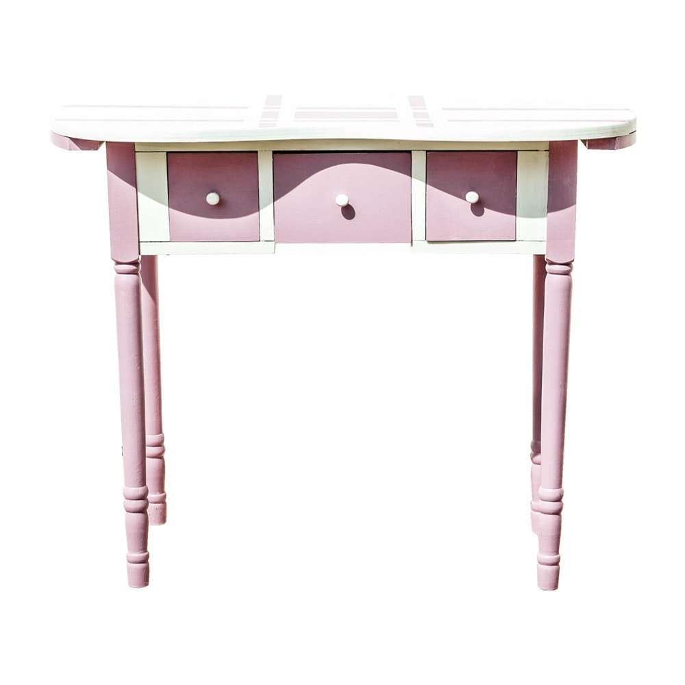 Vintage Pink and White Painted Vanity Table