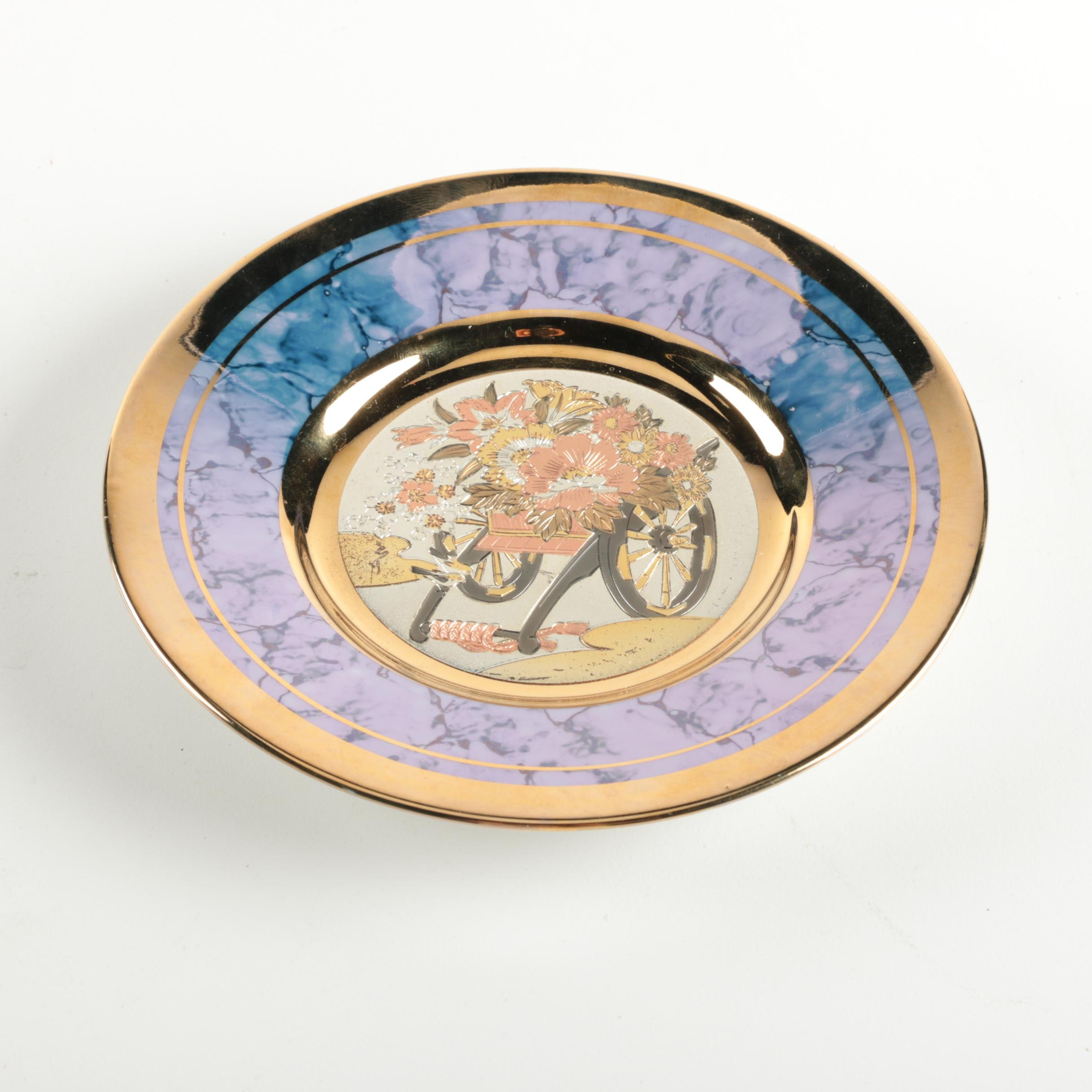 "Japanese ""The Art of Chokin"" Ceramic Plate with 24k Gold Edge"