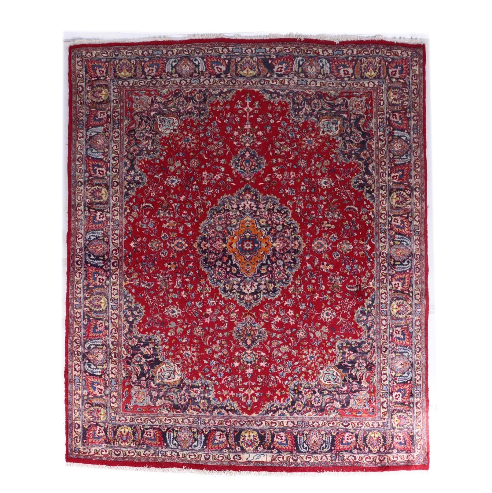 Hand-Knotted Kashan Wool Area Rug
